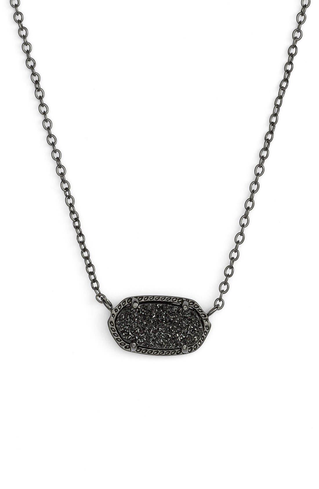 Elisa Pendant Necklace,                         Main,                         color, GUNMETAL/ BLACK DRUSY