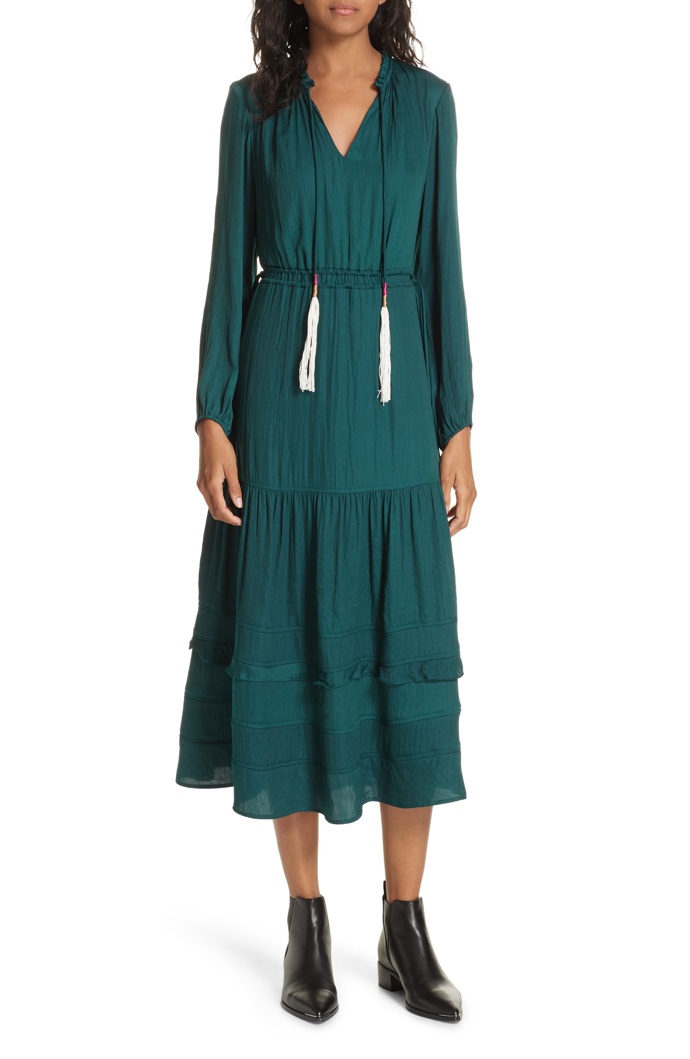 Tassel Tie Midi Dress,                             Main thumbnail 1, color,                             FOREST