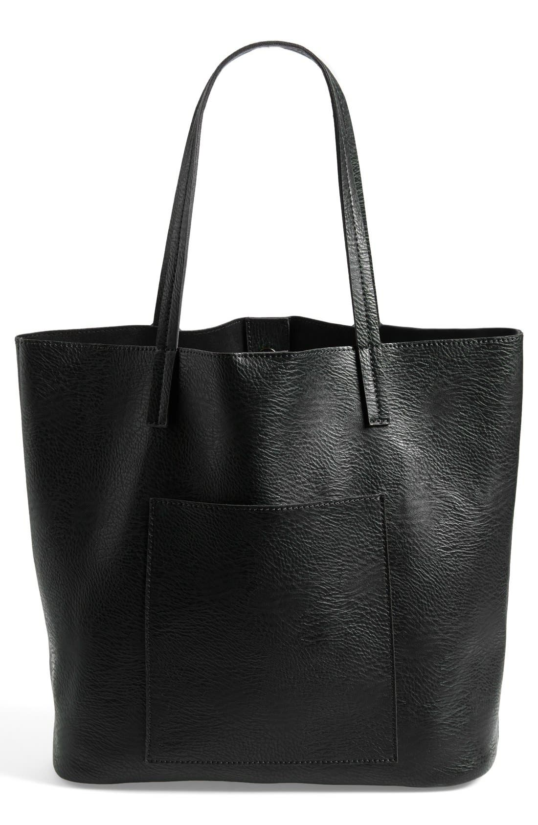Faux Leather Pocket Tote, Main, color, 001