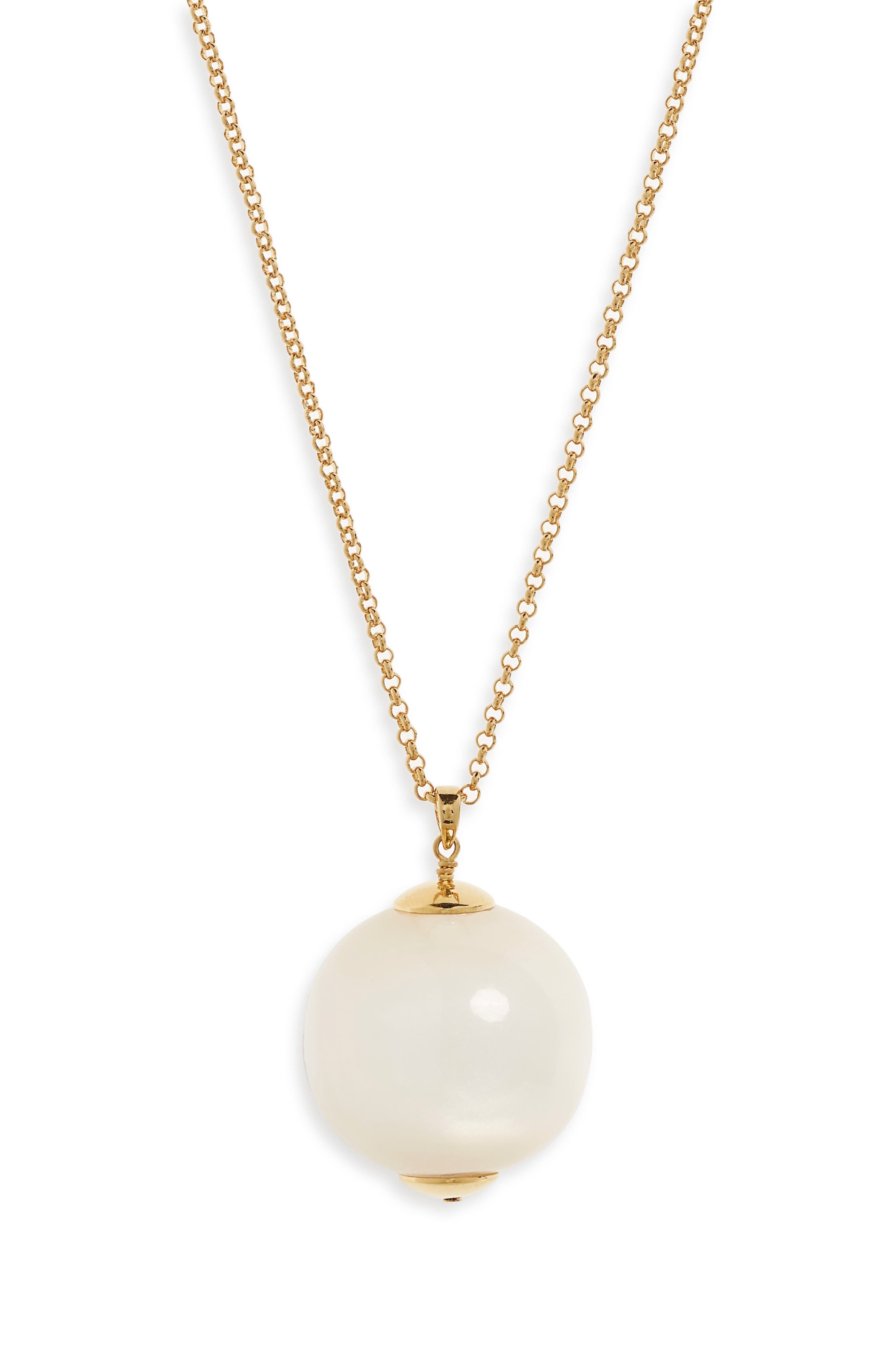 Imitation Pearl Globe Pendant Necklace,                             Alternate thumbnail 2, color,                             MOTHER OF PEARL