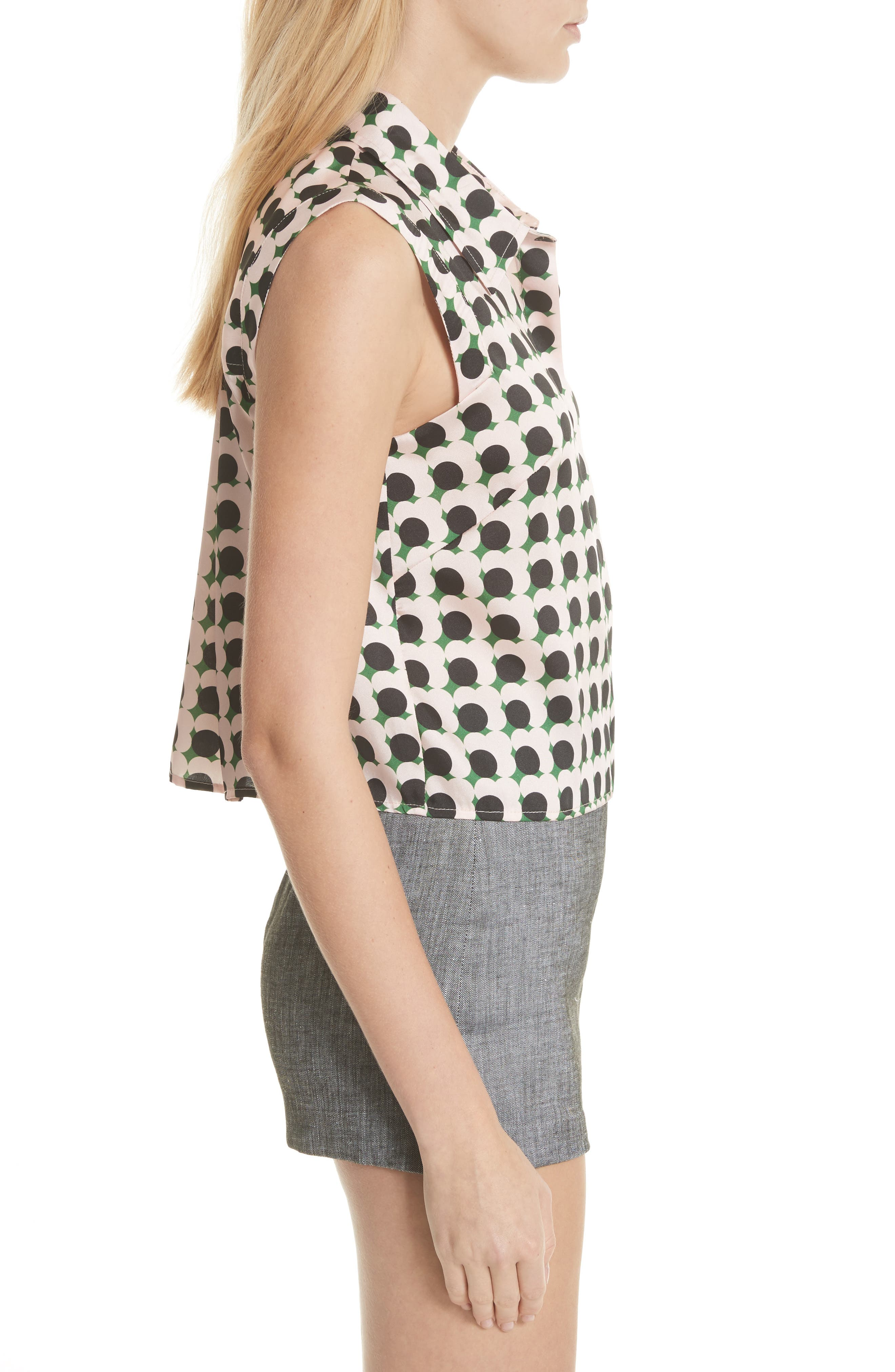 MILLY,                             Stencil Floral Pleat Back Blouse,                             Alternate thumbnail 3, color,                             664