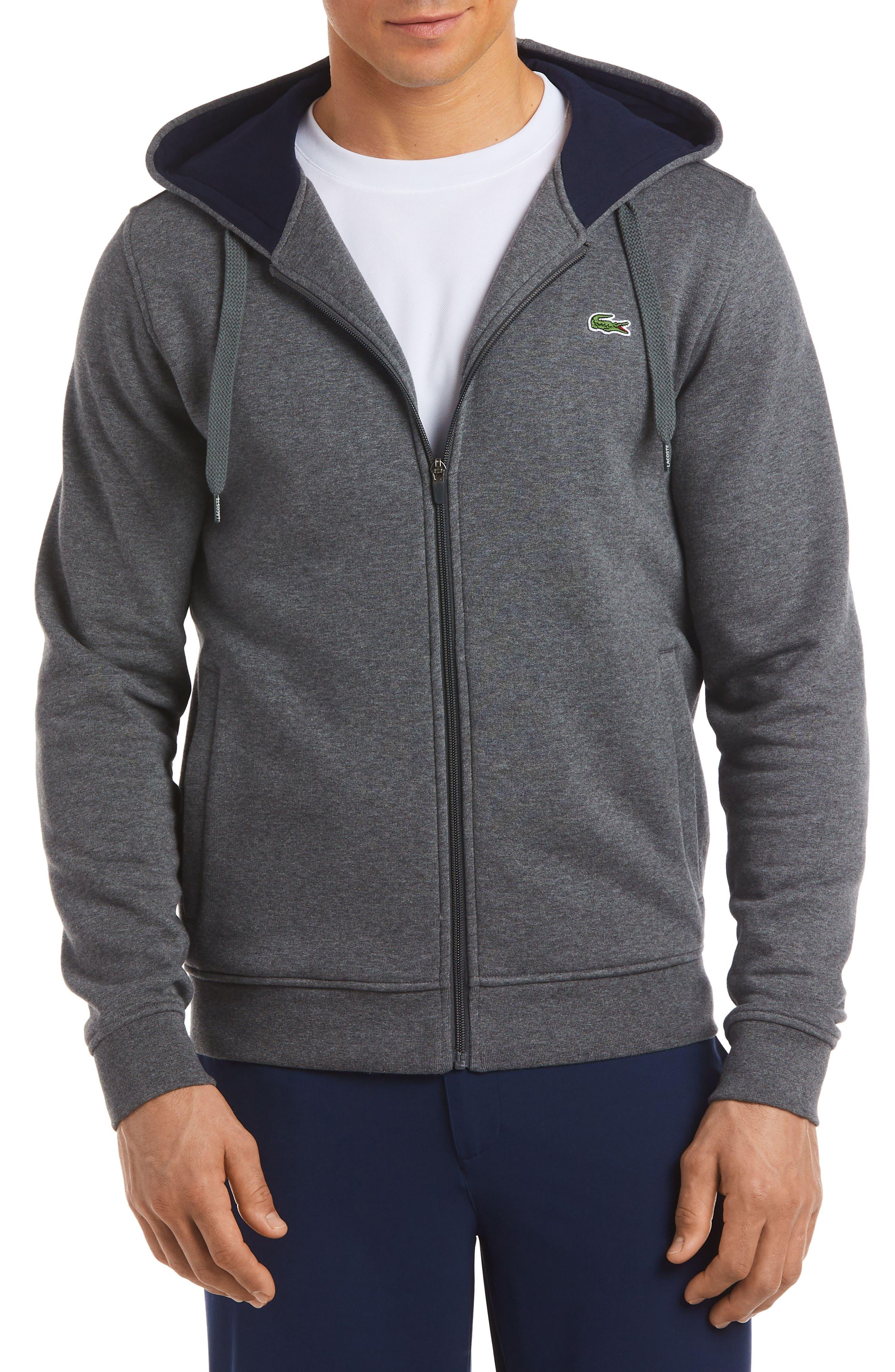 Fleece Zip Hoodie, Main, color, GREY/CHARCOAL