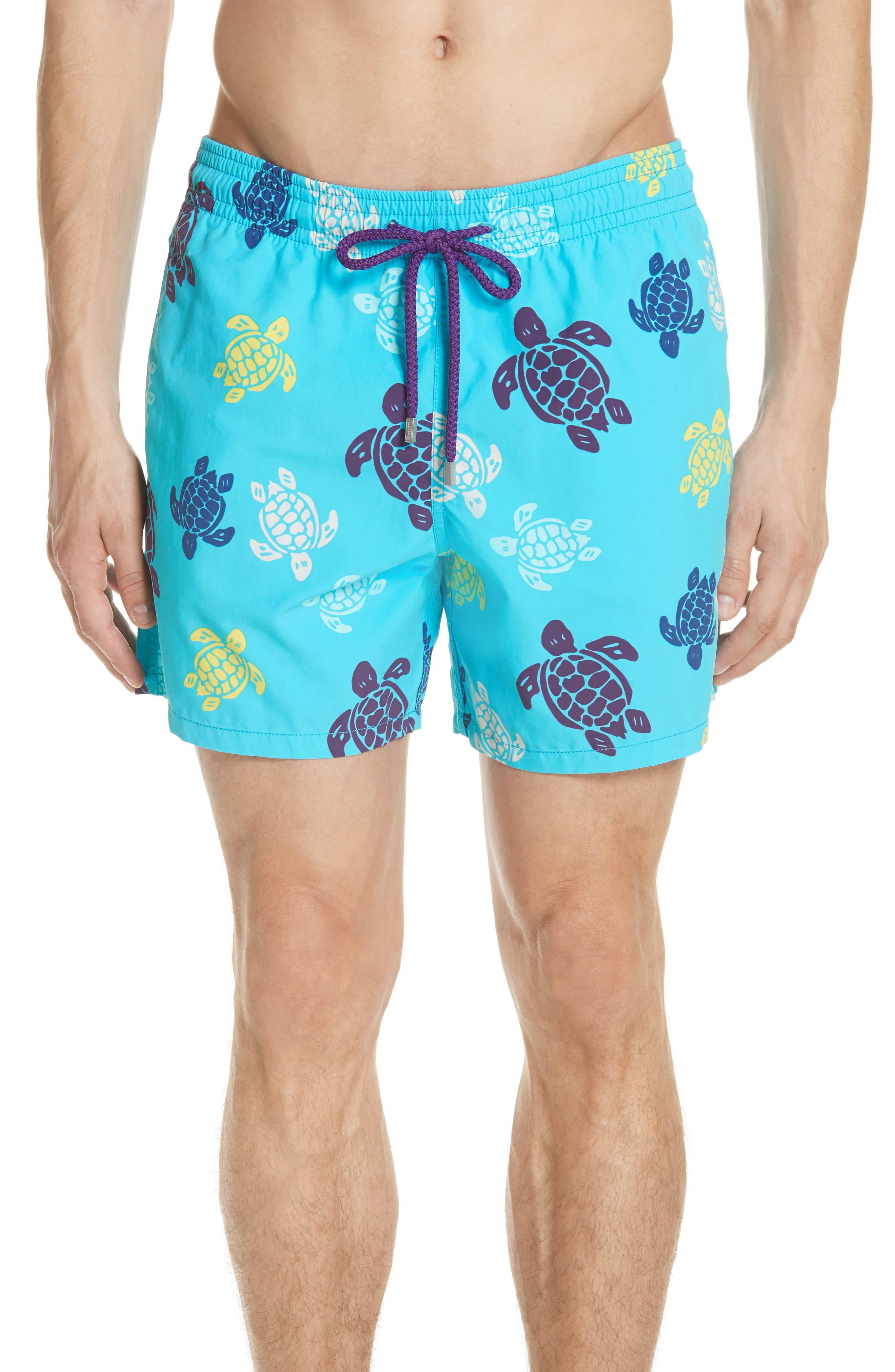 Vilebrequin Multicolor Turtle Print Swim Trunks, Blue