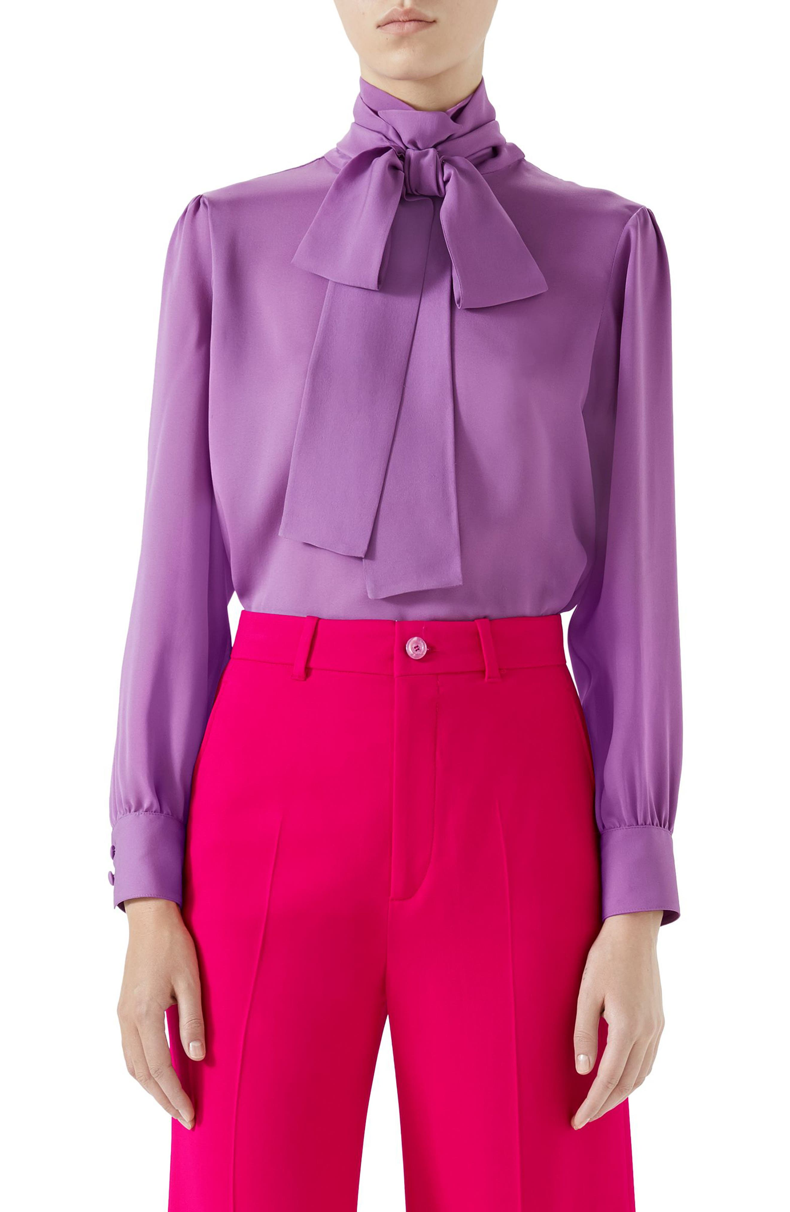 GUCCI,                             Silk Tie Neck Blouse,                             Main thumbnail 1, color,                             PALE VIOLET ORCHID