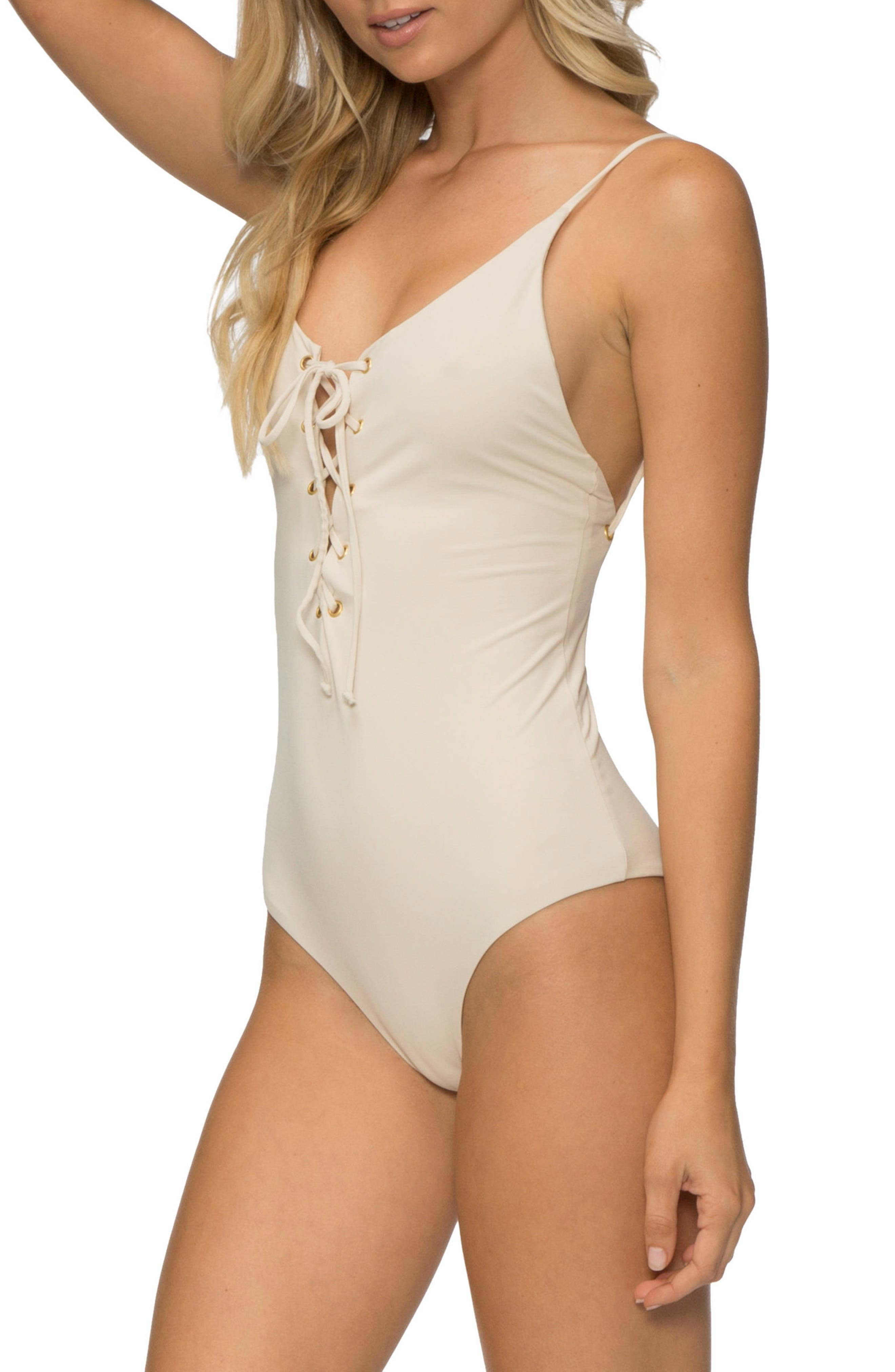 Monahan One-Piece Swimsuit,                             Alternate thumbnail 3, color,                             TAPIOCA