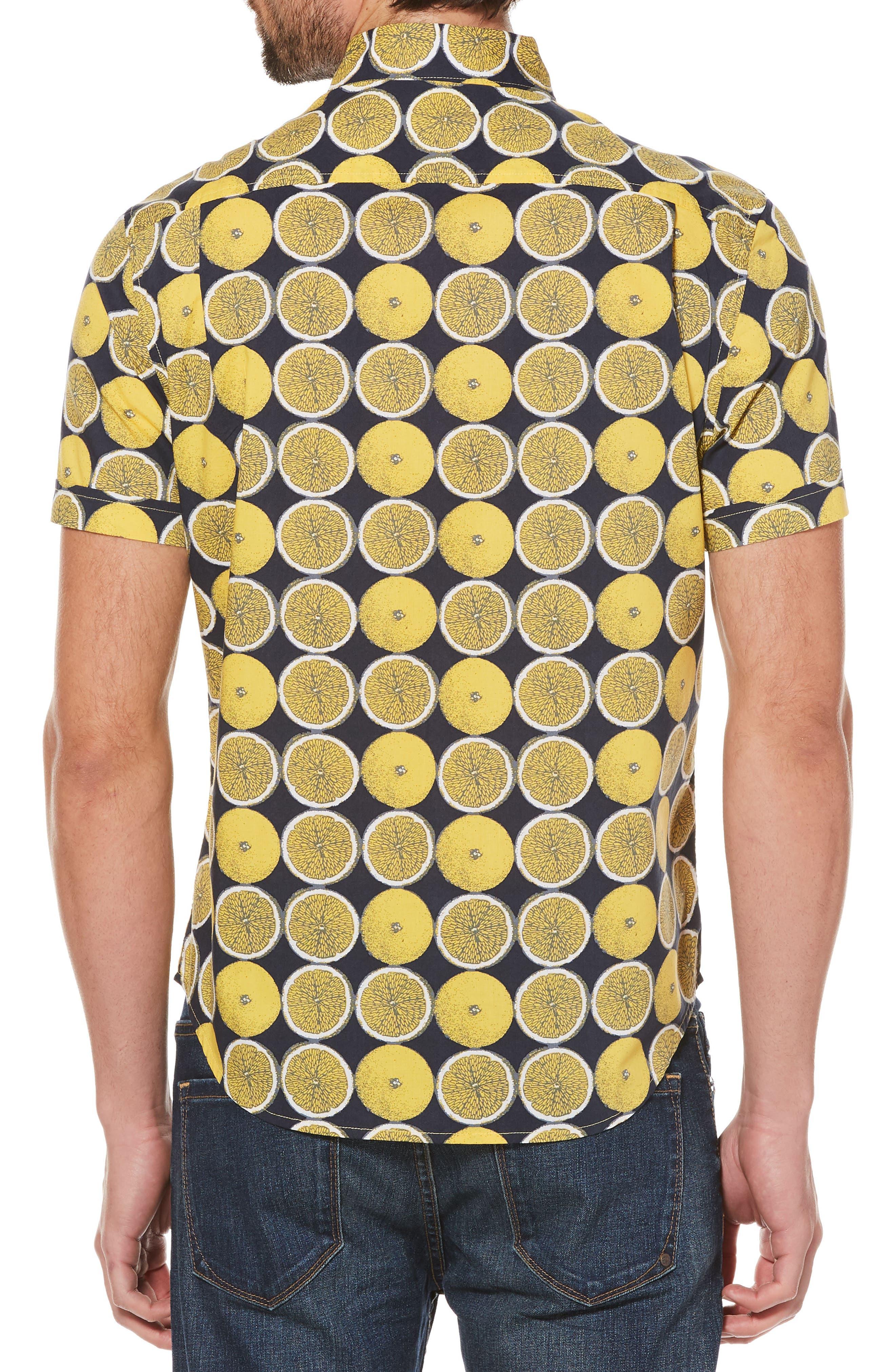 Lemon Print Poplin Shirt,                             Alternate thumbnail 2, color,                             733