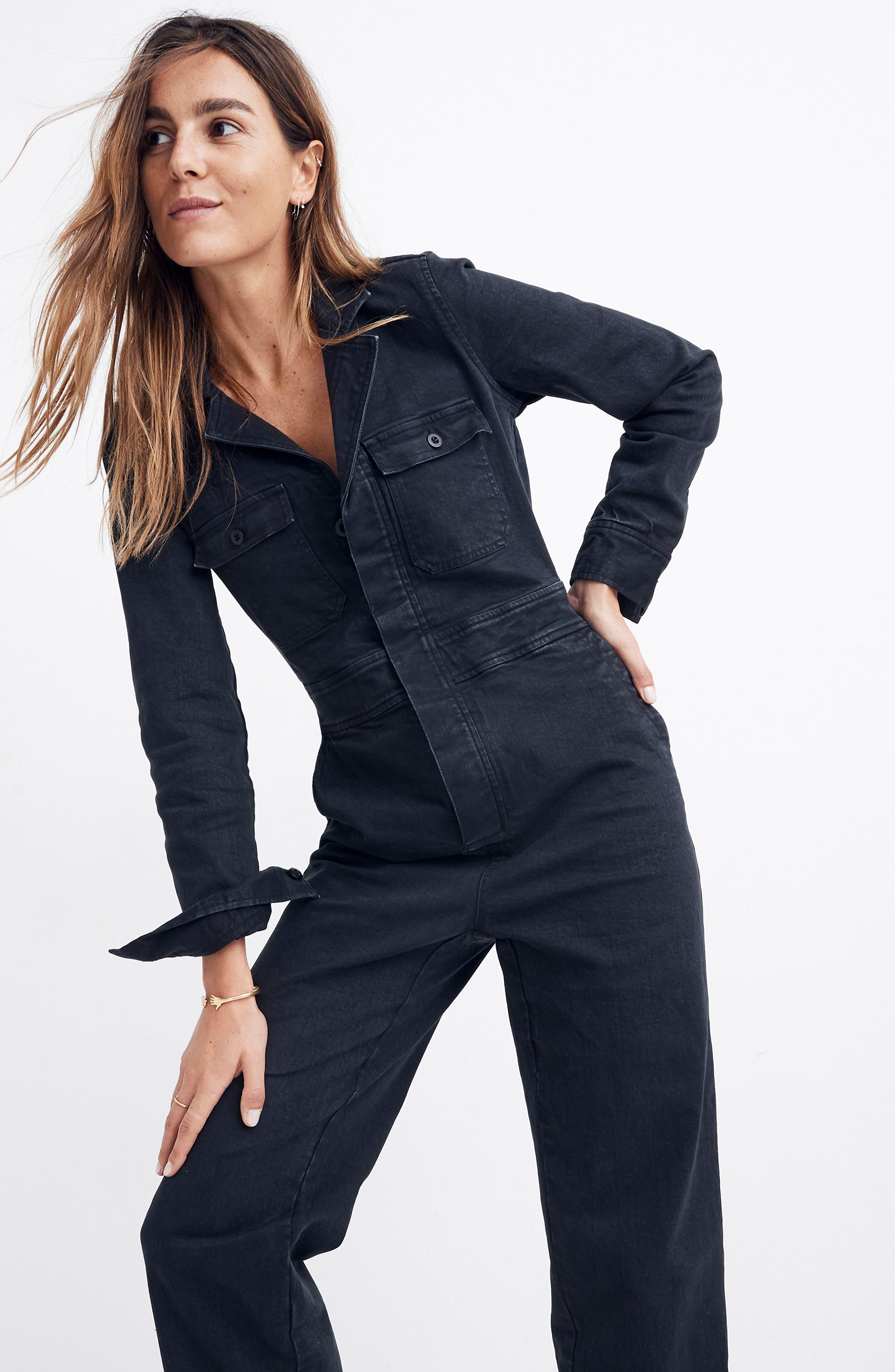 Garment Dyed Denim Slim Coverall Jumpsuit,                             Alternate thumbnail 6, color,                             CLASSIC BLACK