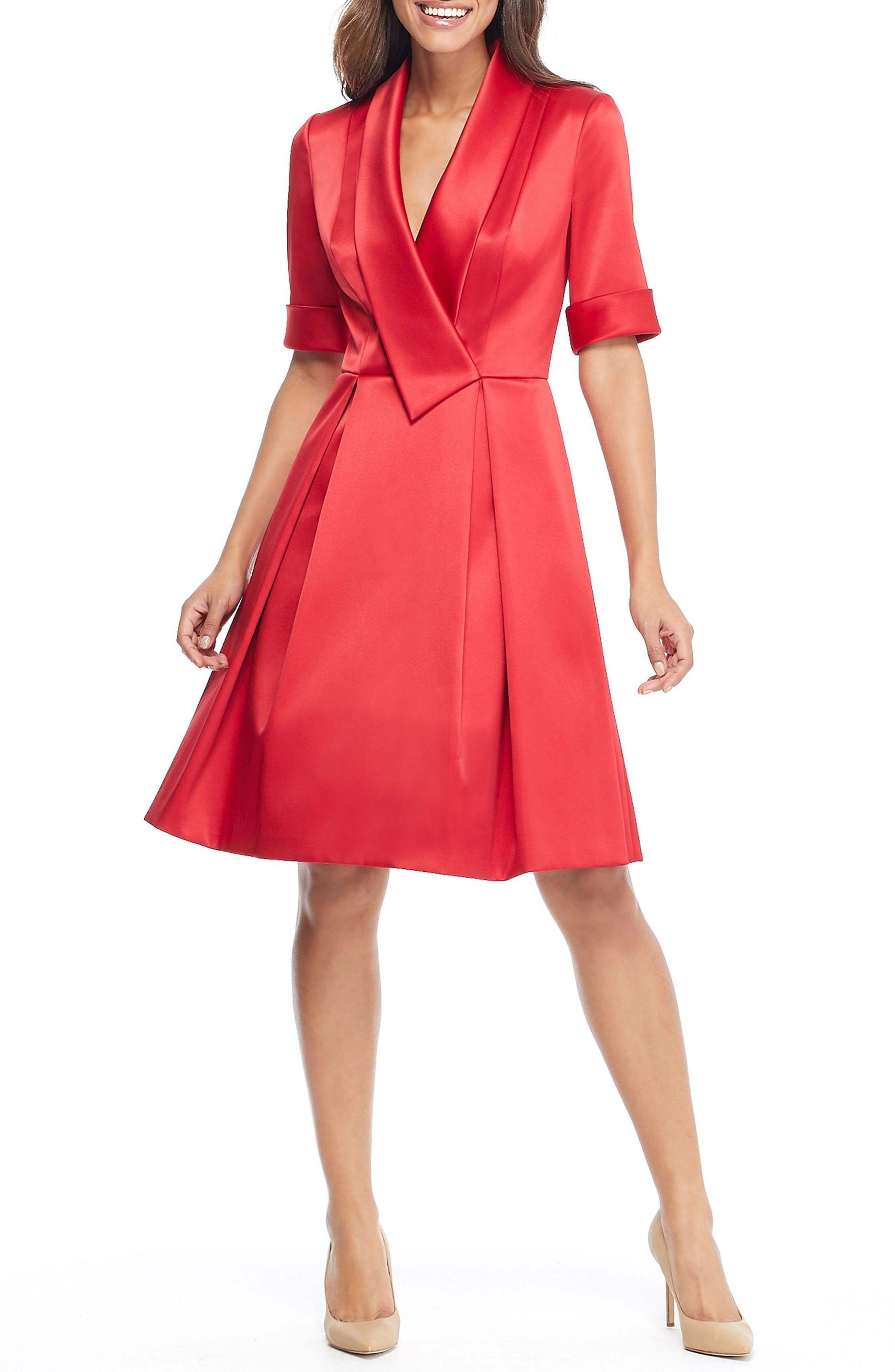 GAL MEETS GLAM COLLECTION Ruby Royal Satin Asymmetrical Collar Dress, Main, color, RUBY