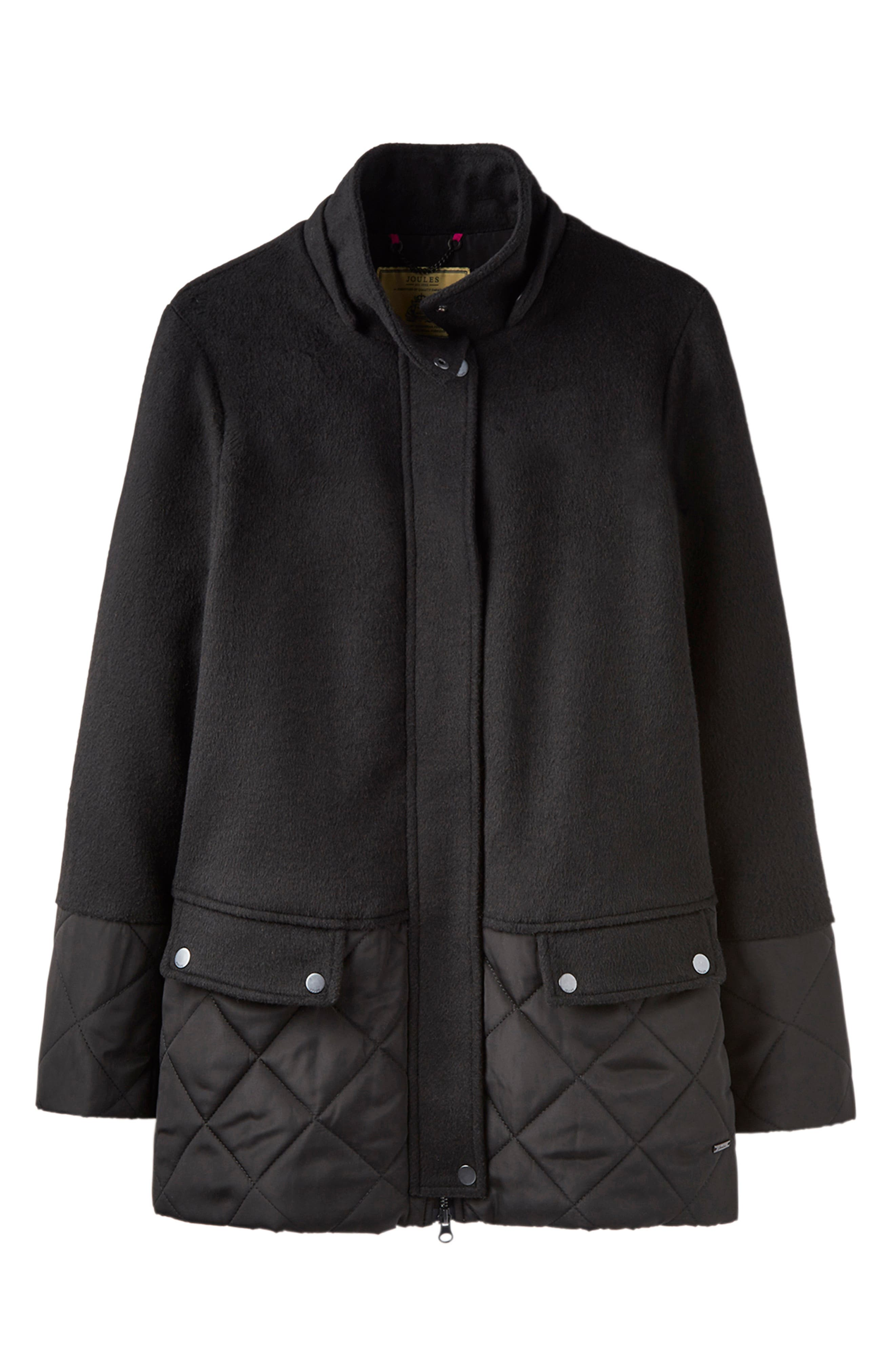 Mixed Texture Hooded Coat with Faux Fur Trim,                             Alternate thumbnail 7, color,                             BLACK