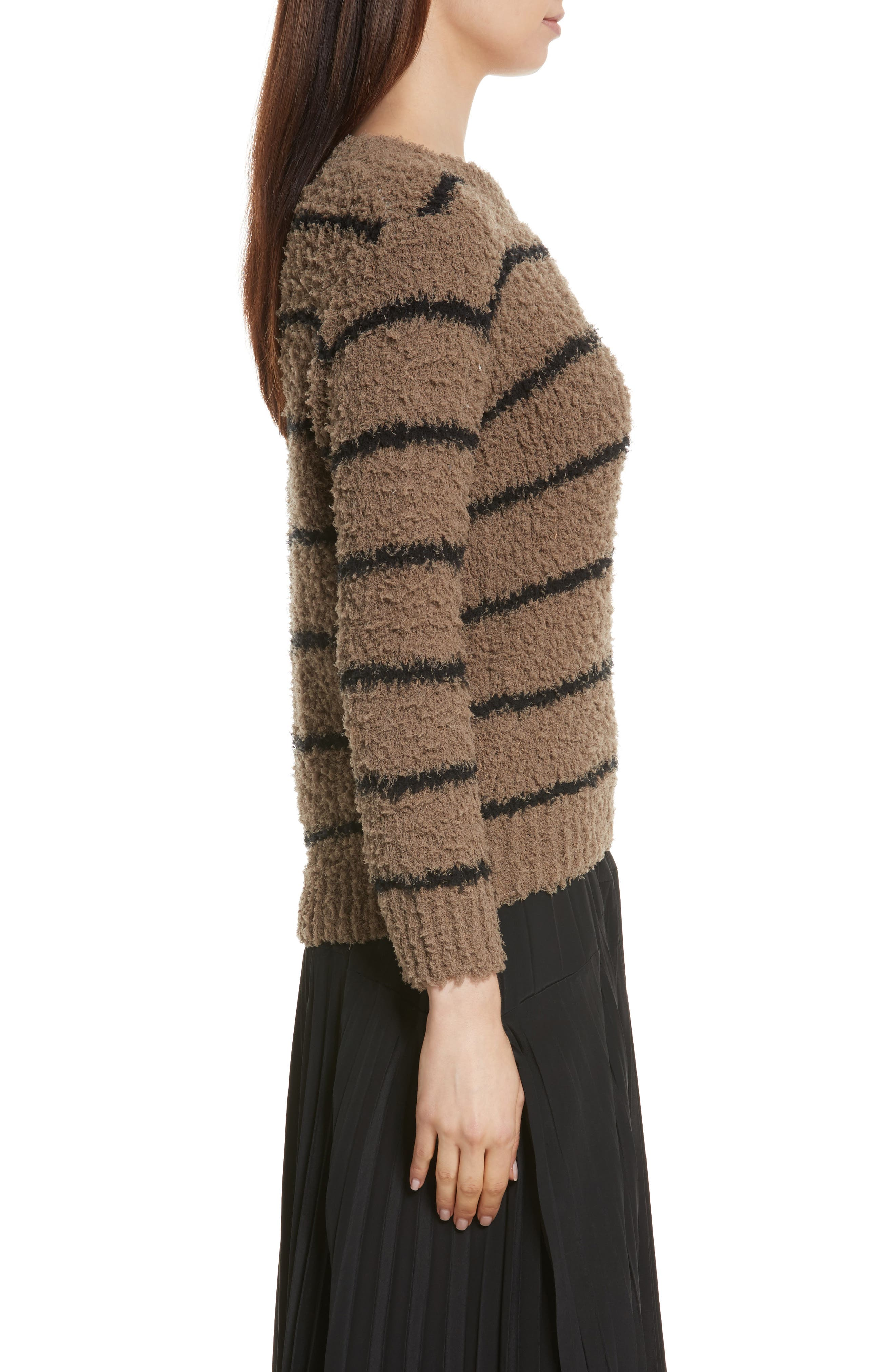 Fuzzy Stripe Sweater,                             Alternate thumbnail 3, color,                             313
