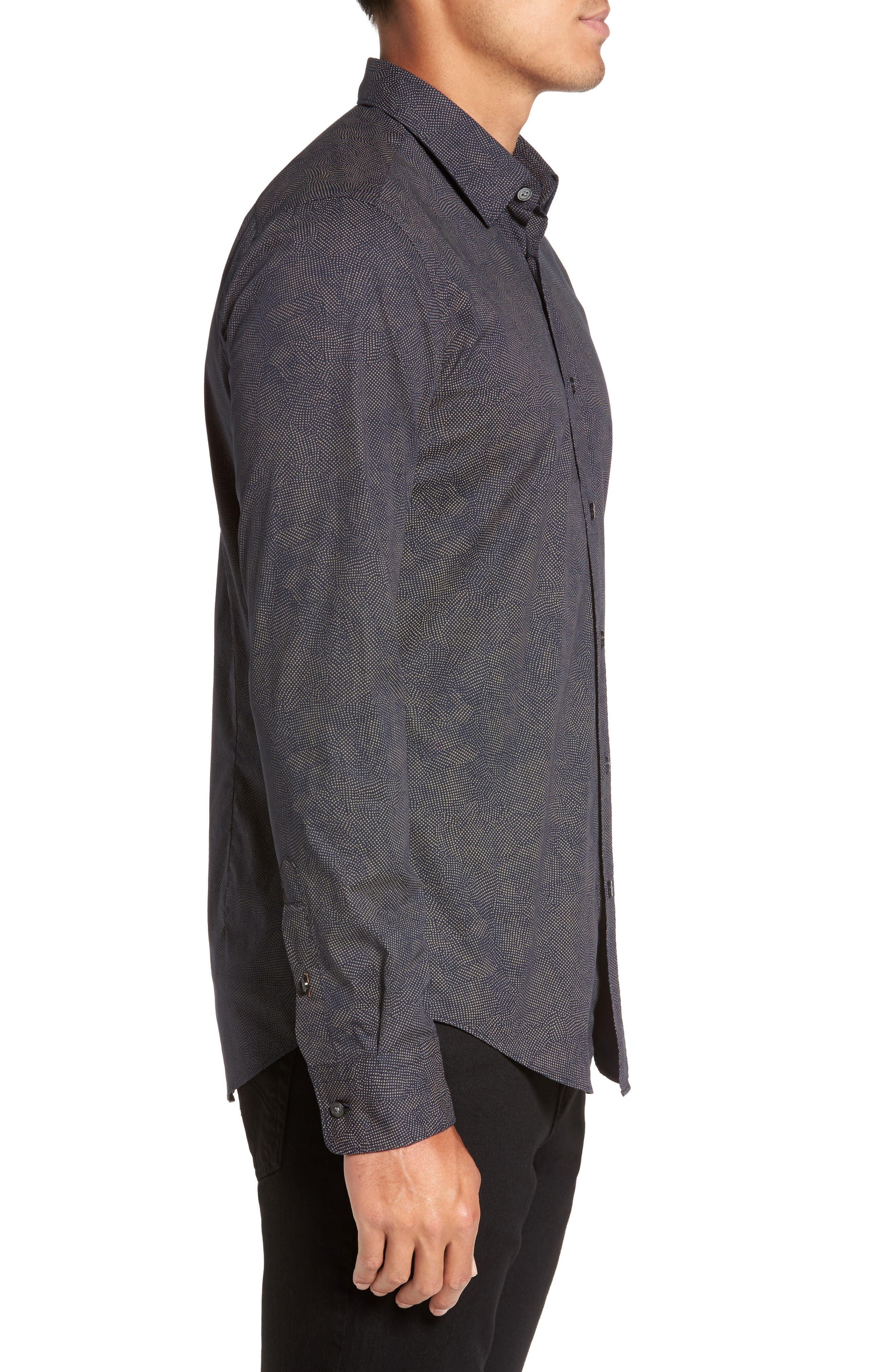 Hugo Boss Ronni Print Trim Fit Sport Shirt,                             Alternate thumbnail 3, color,                             410