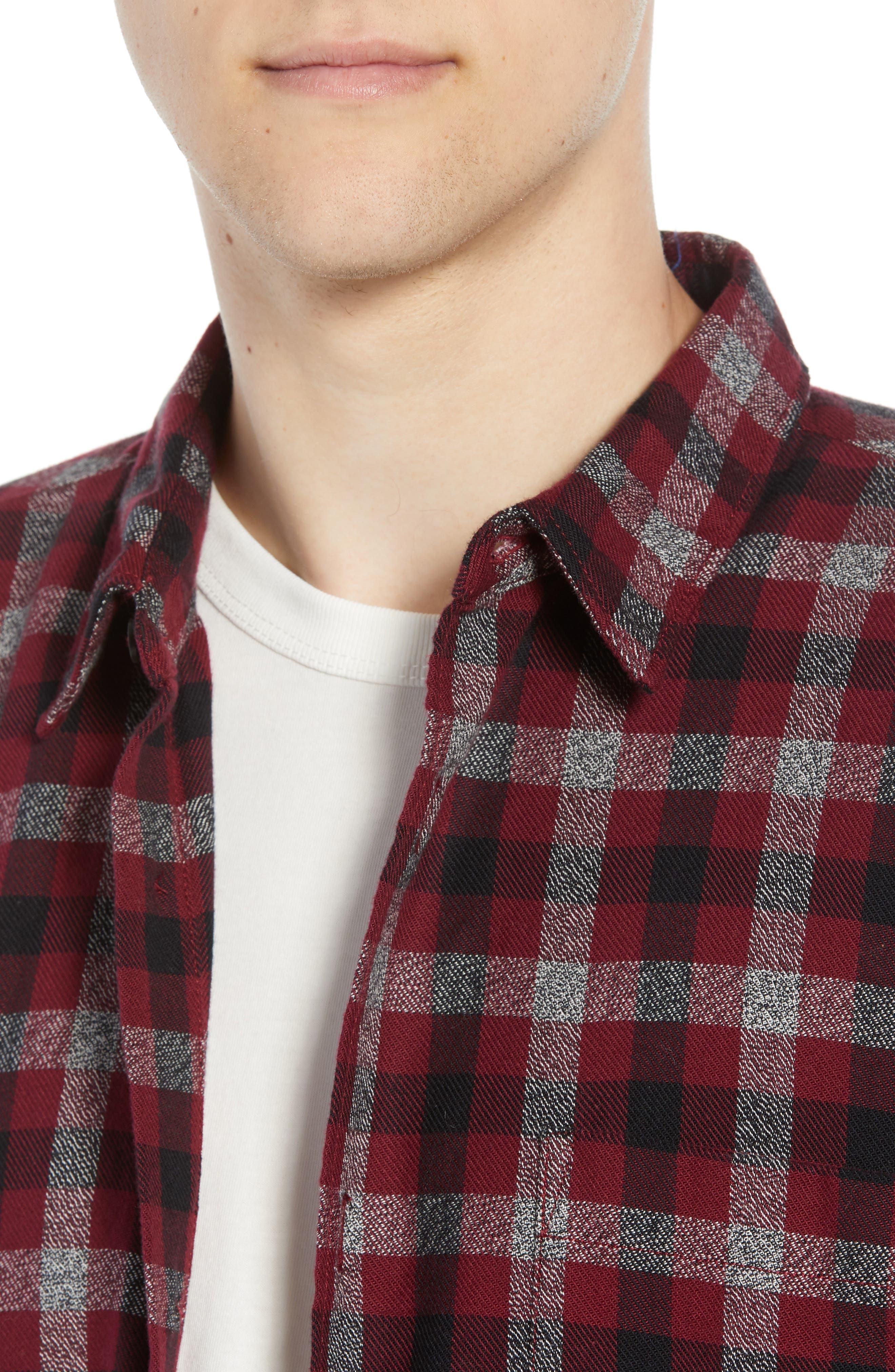 Regular Fit Dobby Check Shirt,                             Alternate thumbnail 2, color,                             RASPBERRY BERET