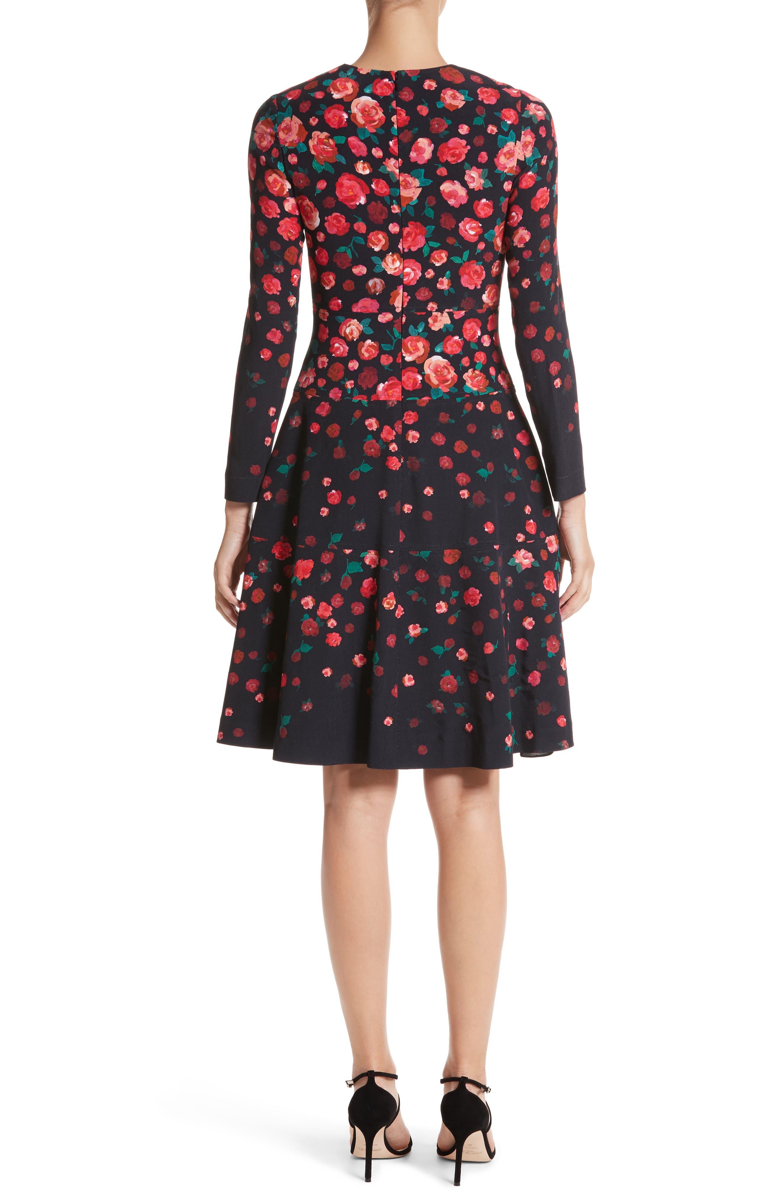 Floral Print Fit & Flare Dress,                             Alternate thumbnail 2, color,                             621