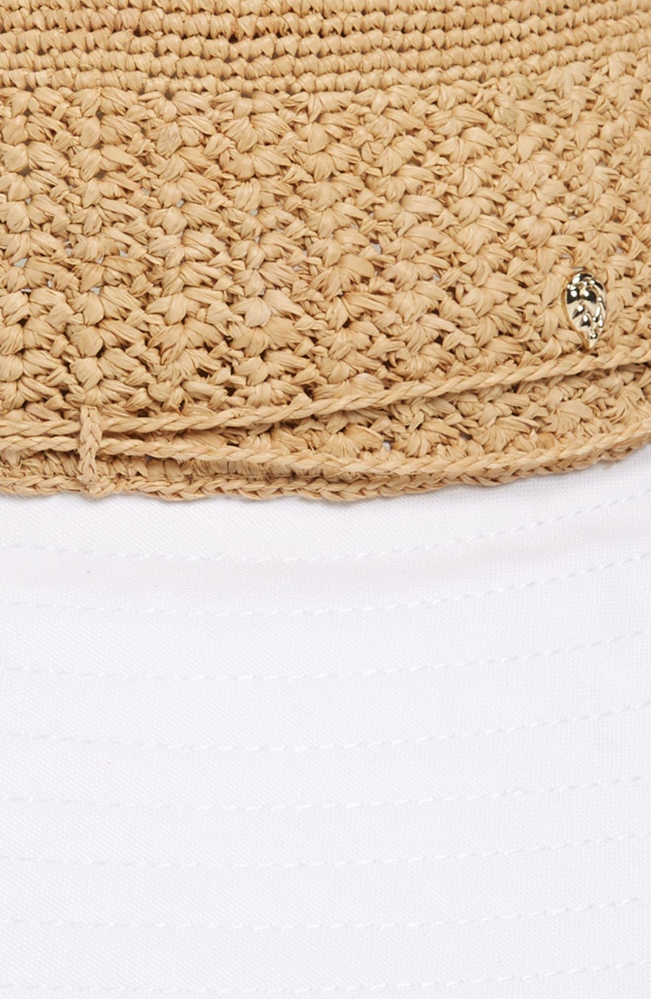 Raffia & Cotton Packable Wide Brim Hat,                             Alternate thumbnail 2, color,                             NATURAL/ WHITE