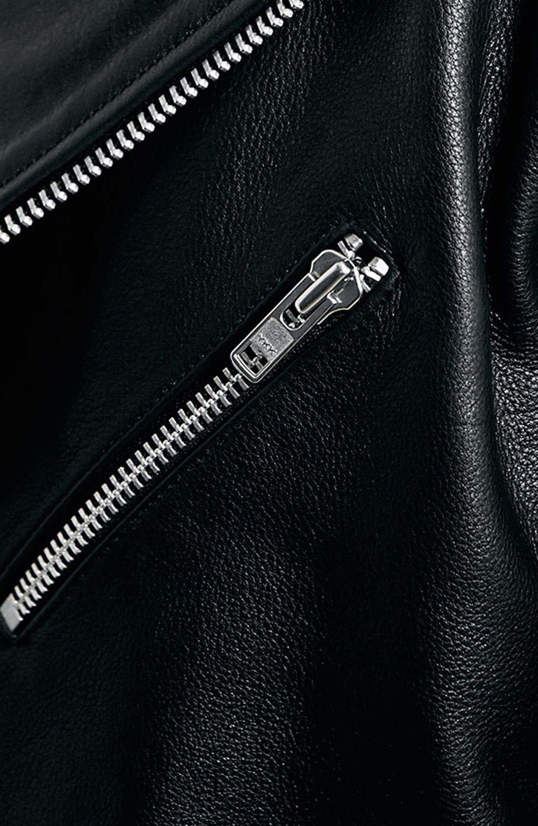 TOPMAN,                             Black Leather Biker Jacket,                             Alternate thumbnail 4, color,                             001