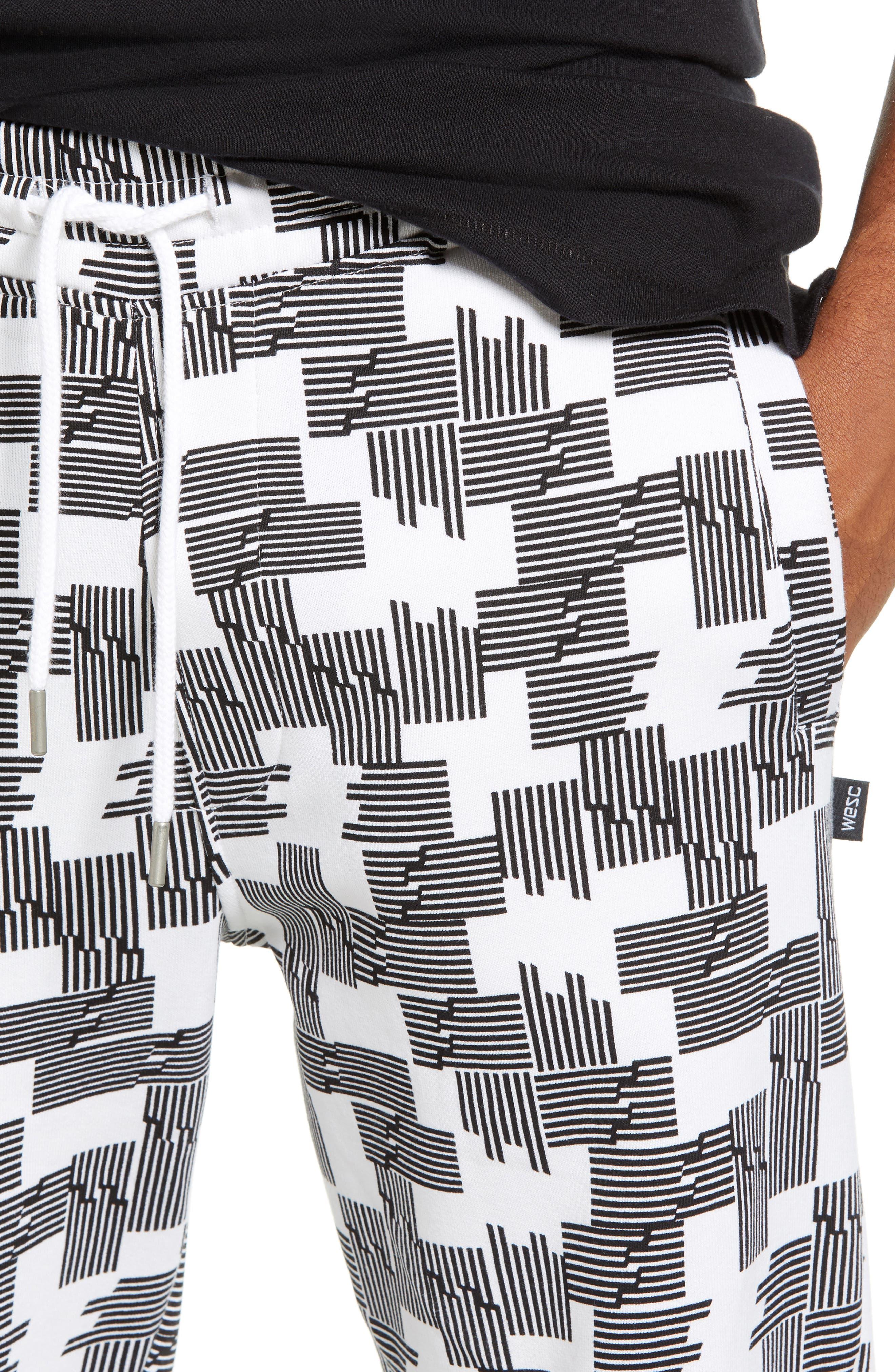 Baker Puzzle Check Sweatpants,                             Alternate thumbnail 4, color,                             BLACK