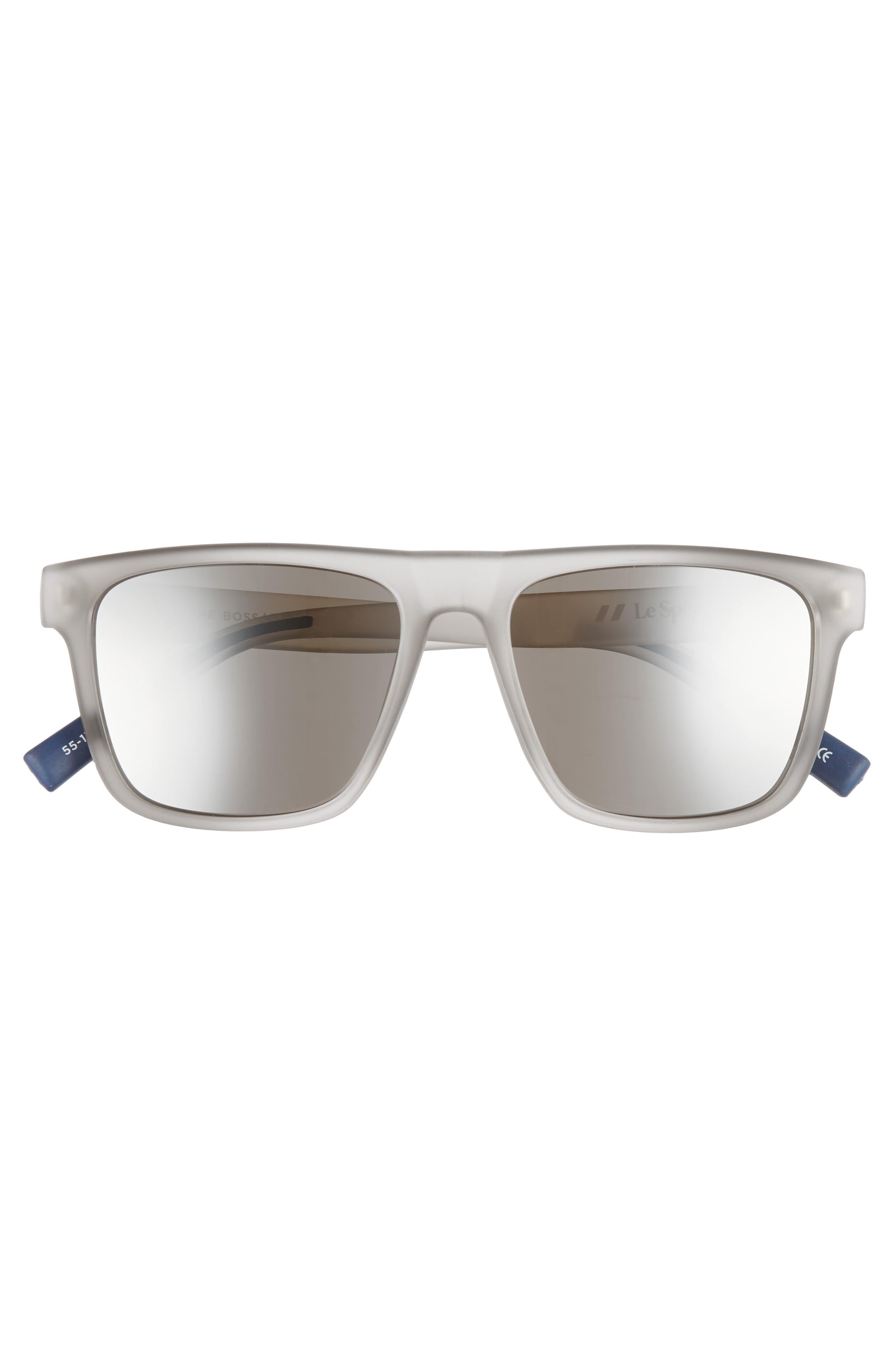 The Boss 55mm Rectangular Sunglasses,                             Alternate thumbnail 3, color,                             MATTE SHADOW