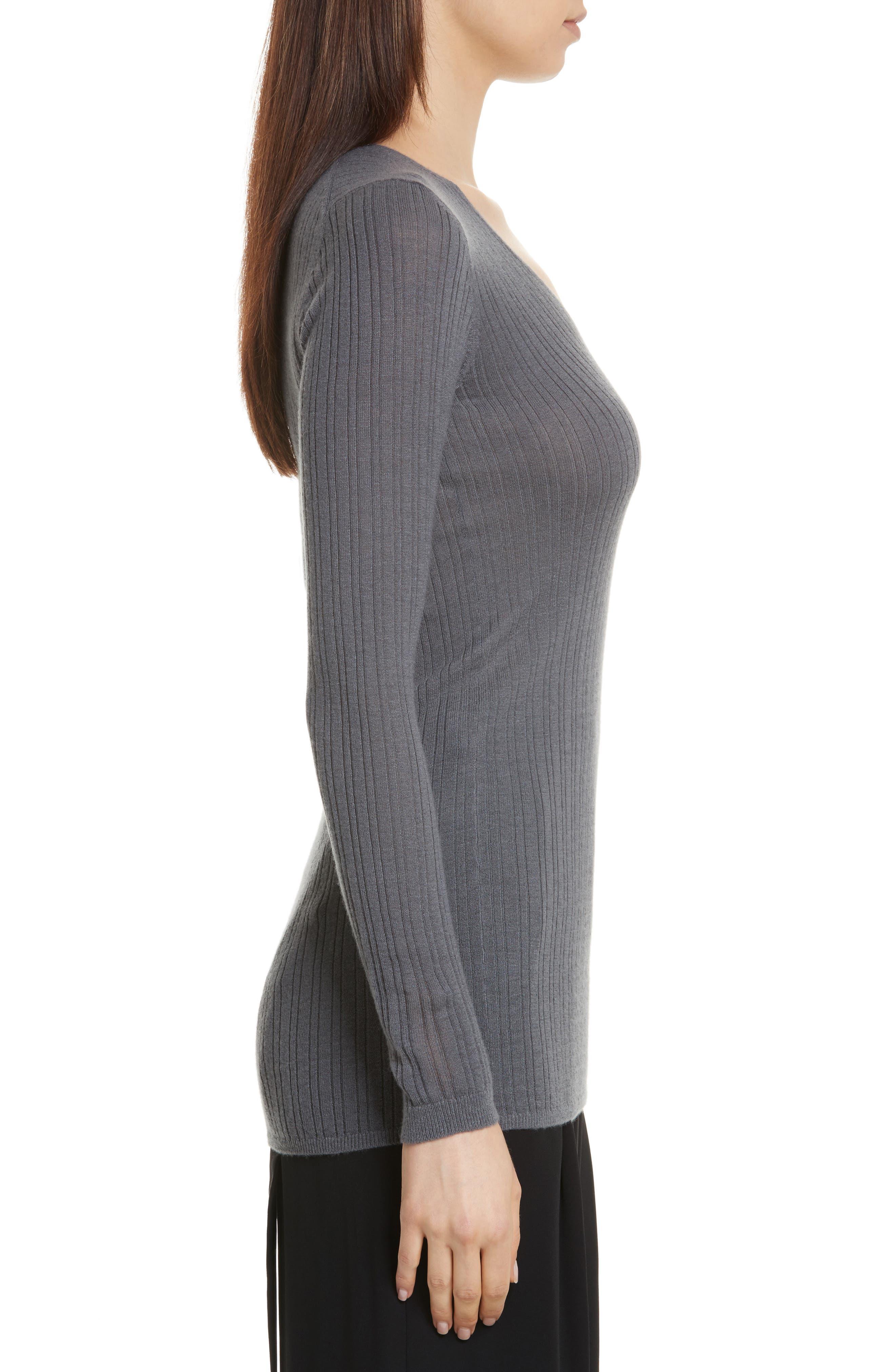 Ribbed Cashmere V-Neck Sweater,                             Alternate thumbnail 8, color,
