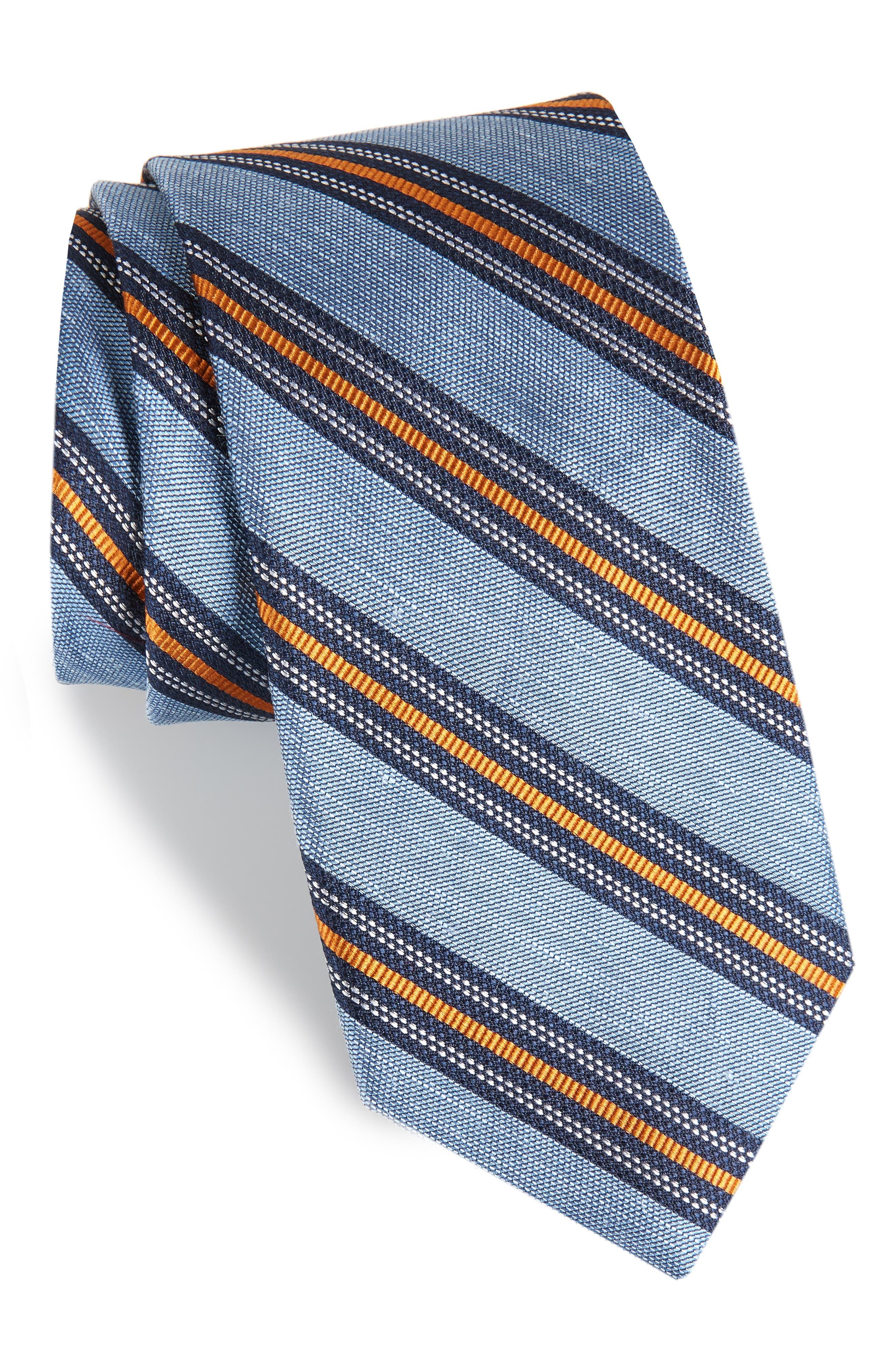 Rangel Stripe Silk & Linen Tie,                             Main thumbnail 1, color,                             LIGHT BLUE