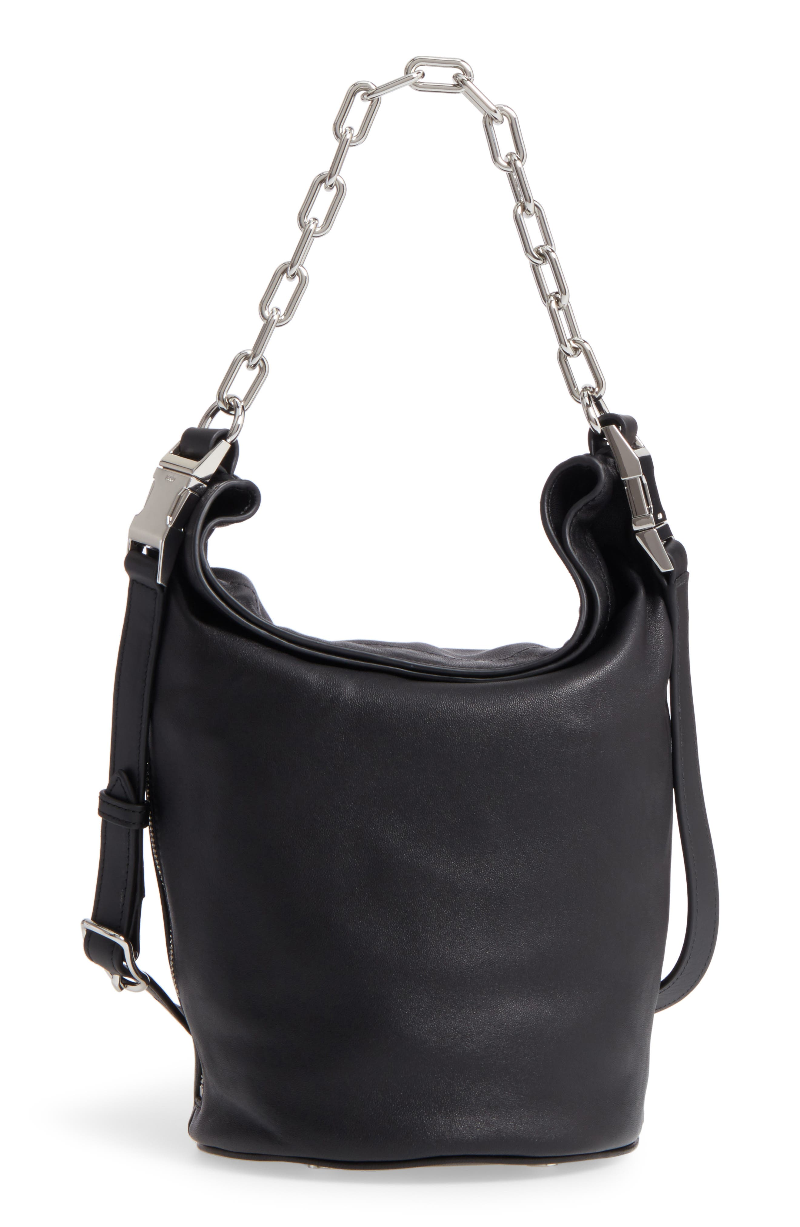 Attica Leather Bucket Bag,                             Alternate thumbnail 3, color,                             BLACK