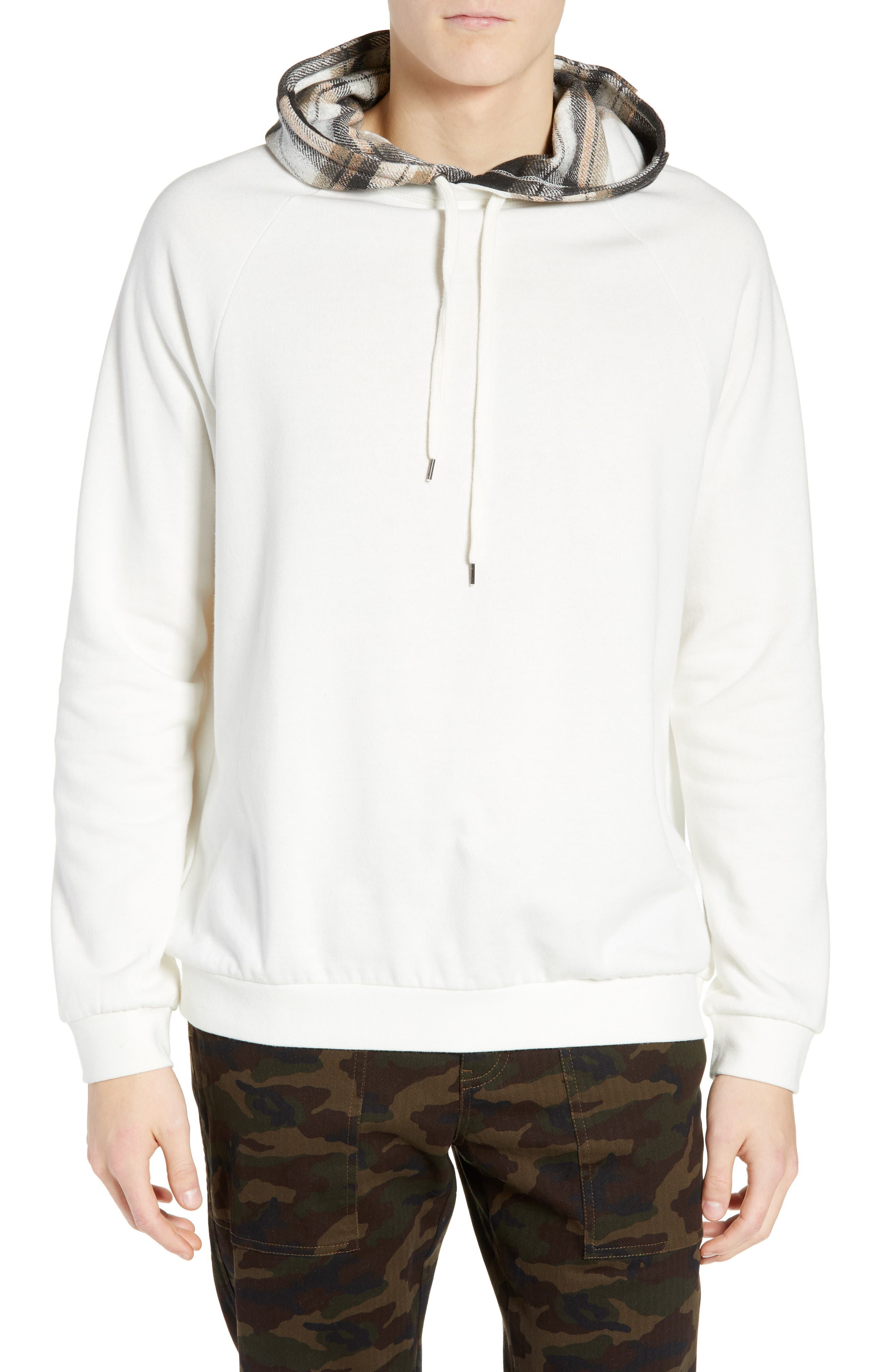 The Rail Contrast Plaid Pullover Hoodie, Ivory