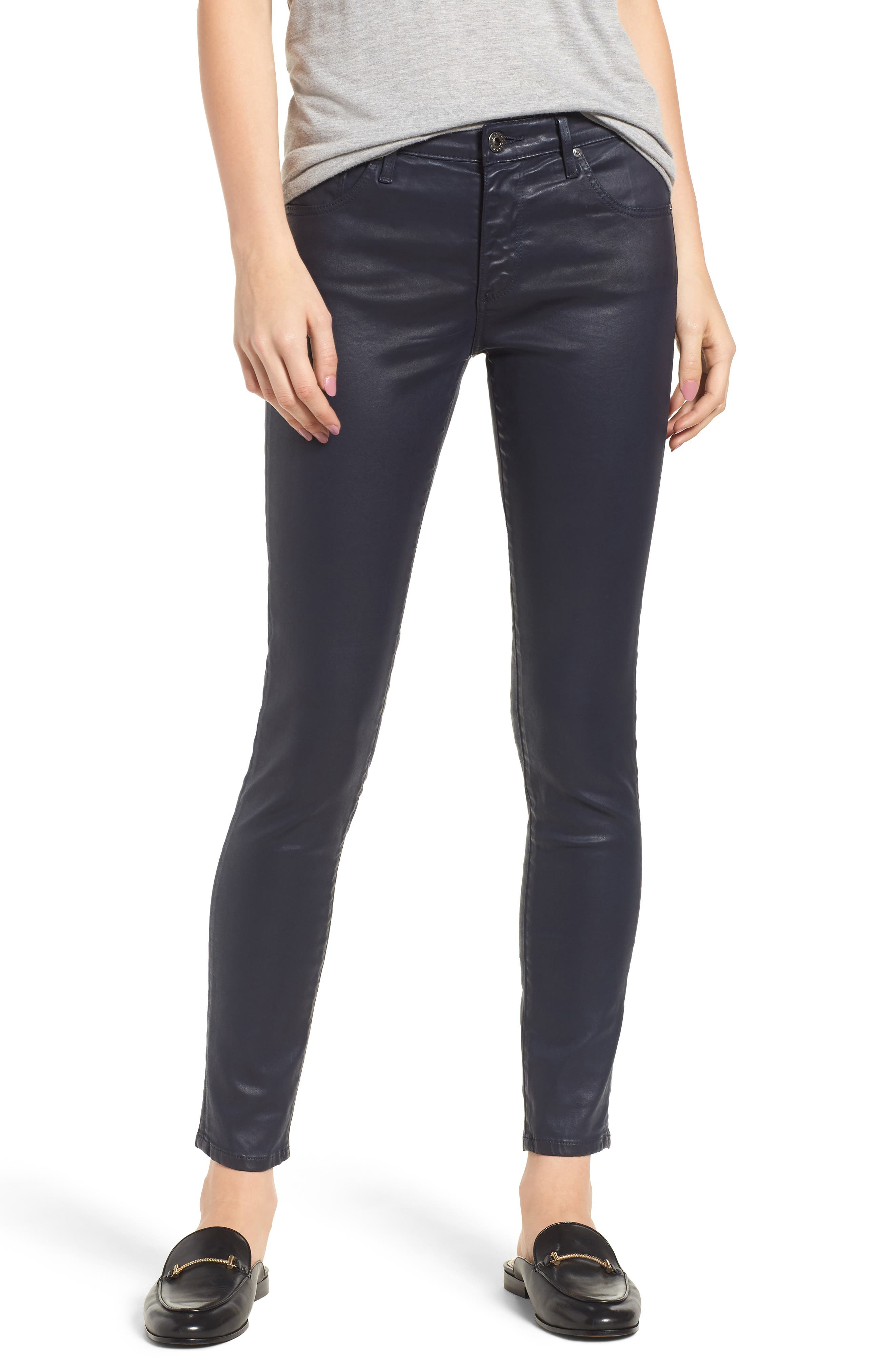 'The Legging' Coated Ankle Jeans,                         Main,                         color, LEATHERETT BLUE VAULT