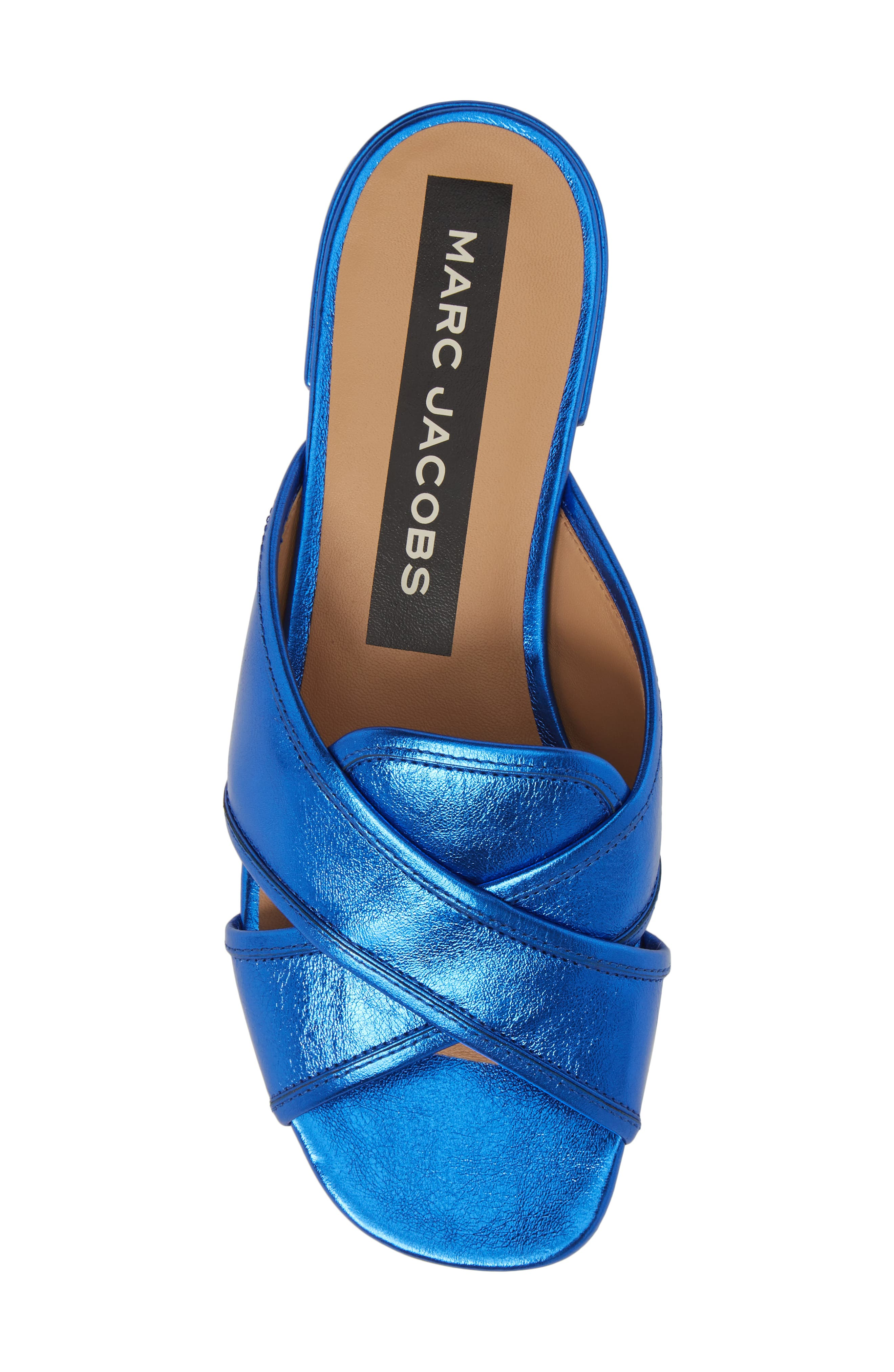 Aurora Metallic Slide Sandal,                             Alternate thumbnail 5, color,                             BLUE