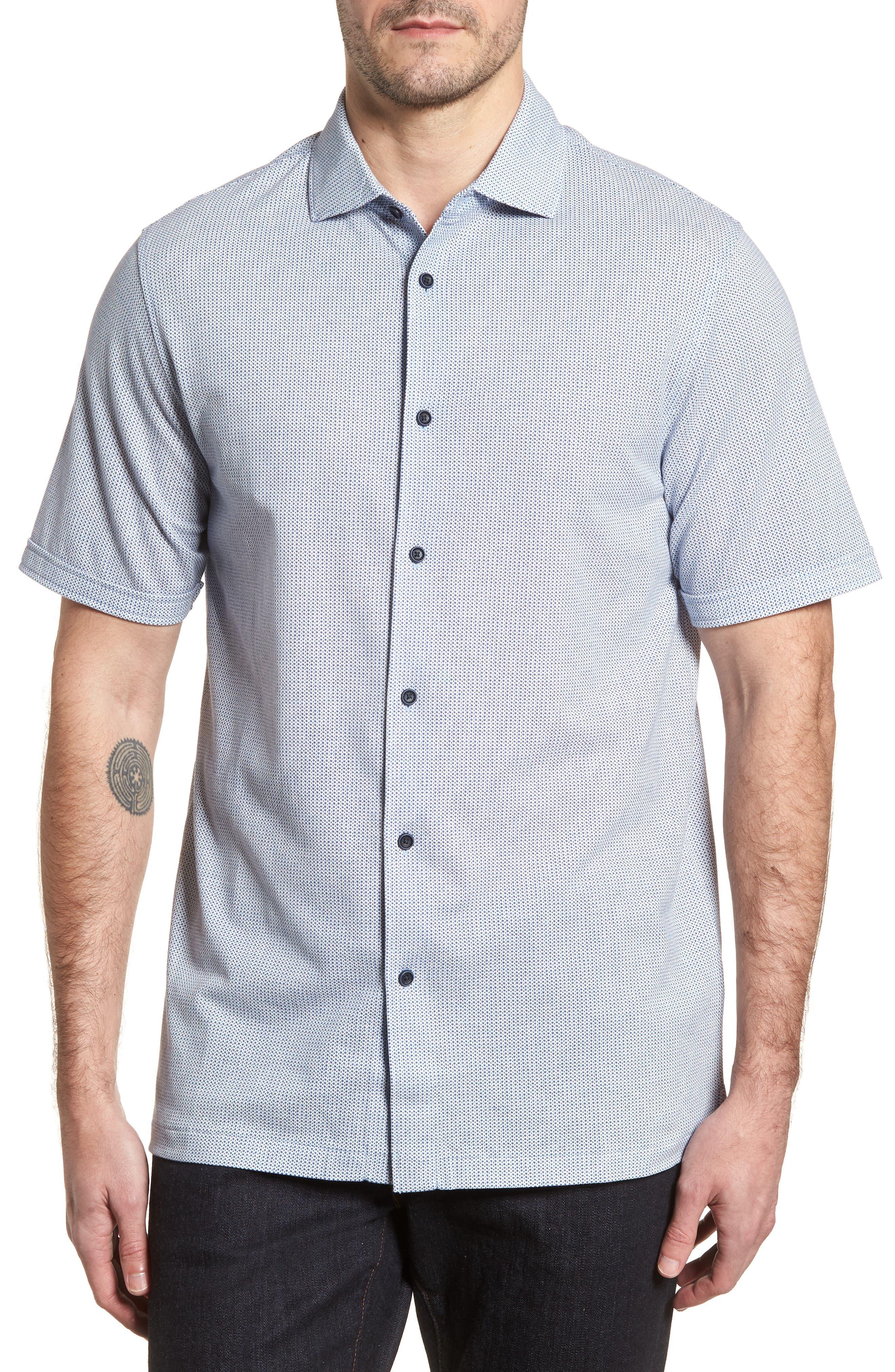 BUGATCHI,                             Shaped Fit Microprint Sport Shirt,                             Main thumbnail 1, color,                             CLASSIC BLUE