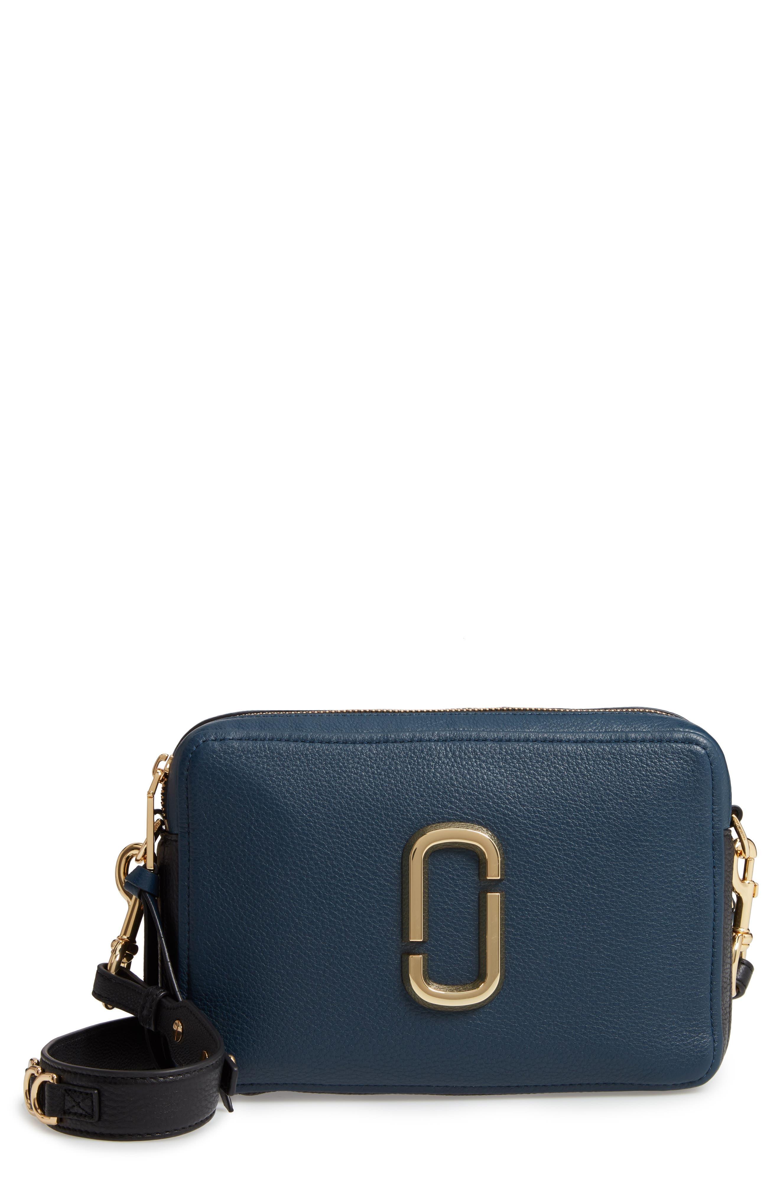 The Softshot 21 Leather Crossbody Bag in Blue Sea Multi