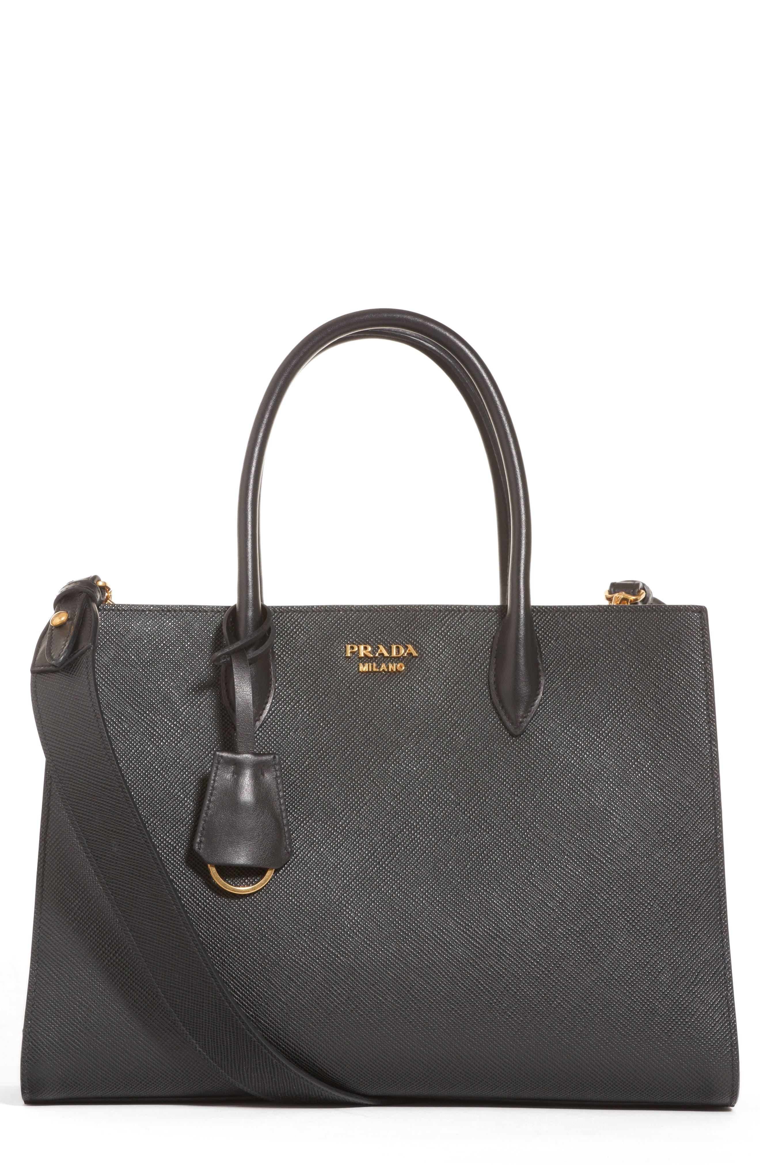 Medium Saffiano Leather Tote,                         Main,                         color, 001