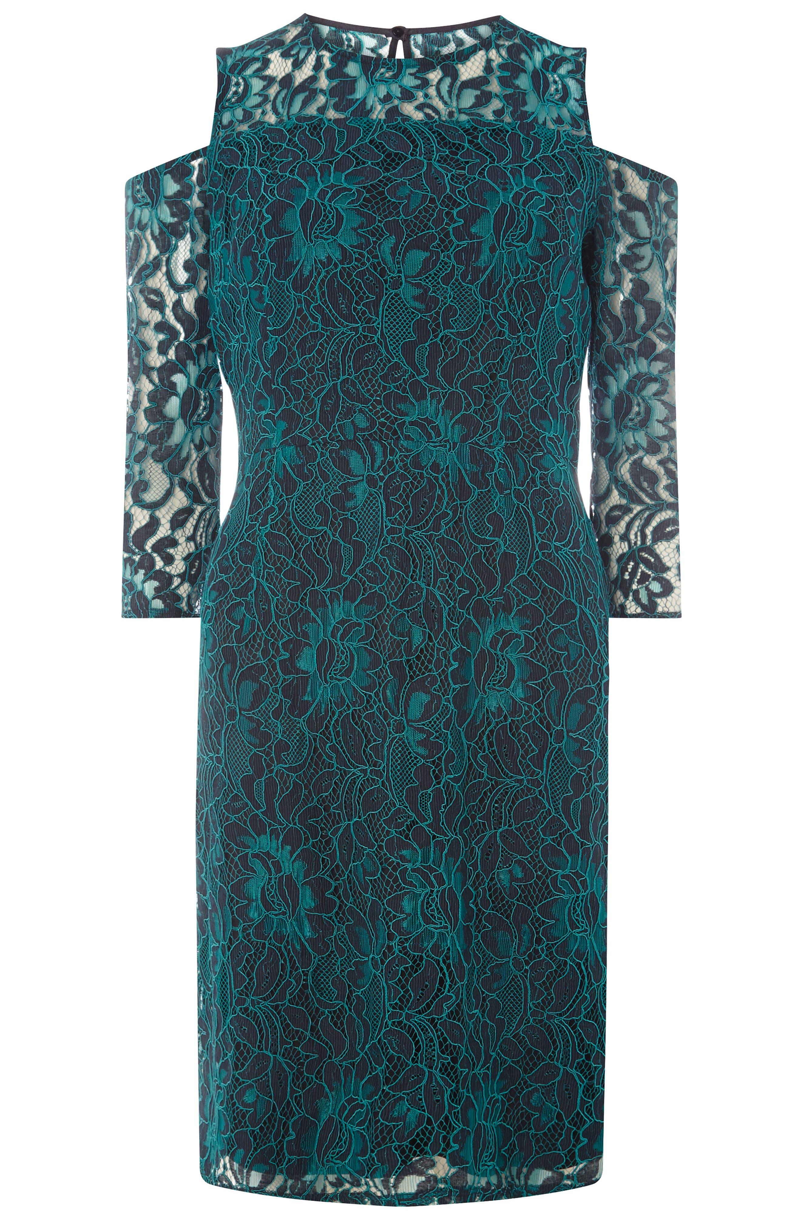 Cold Shoulder Lace Dress,                             Alternate thumbnail 4, color,                             300