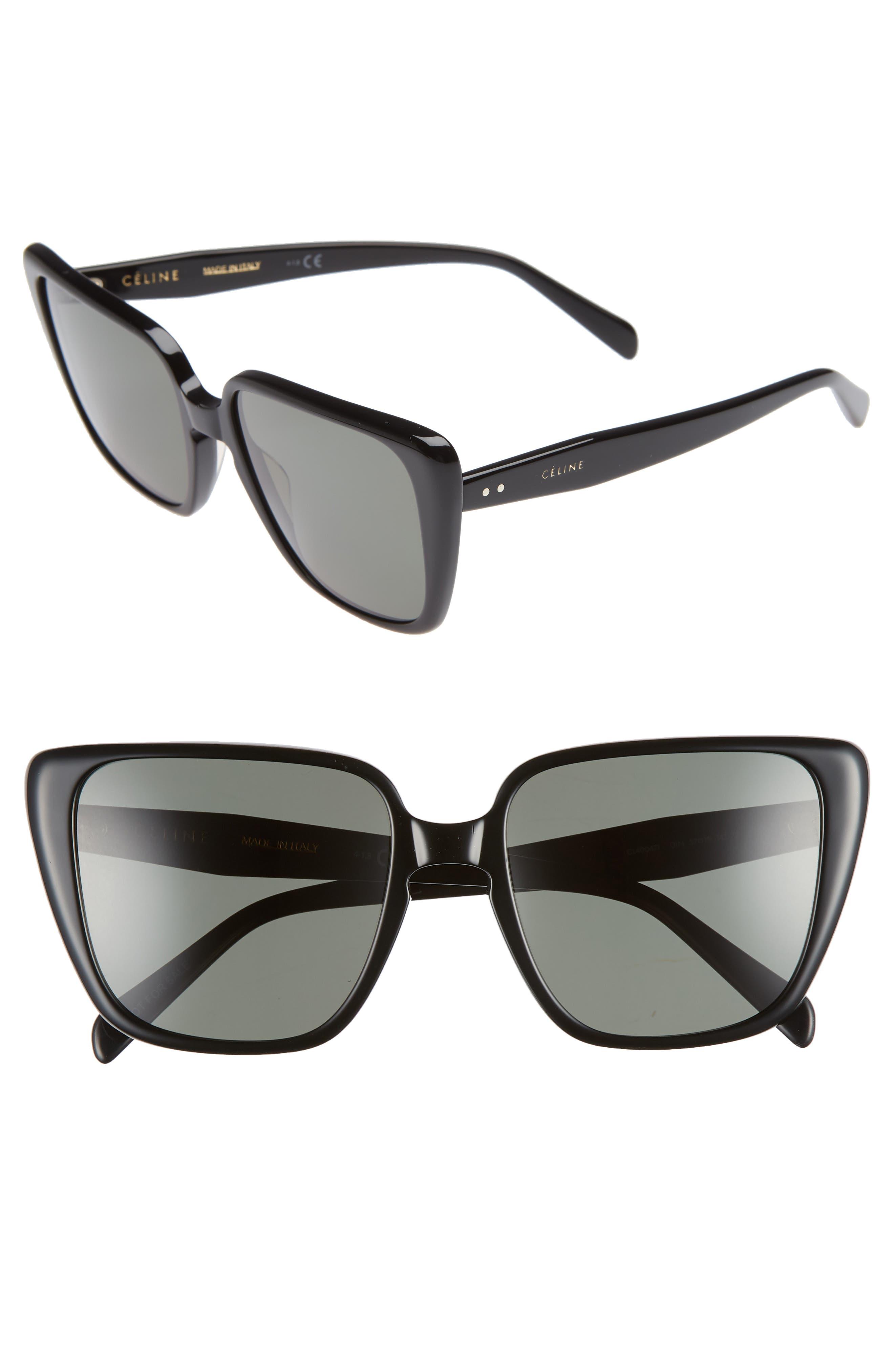57Mm Modified Square Cat Eye Sunglasses - Black