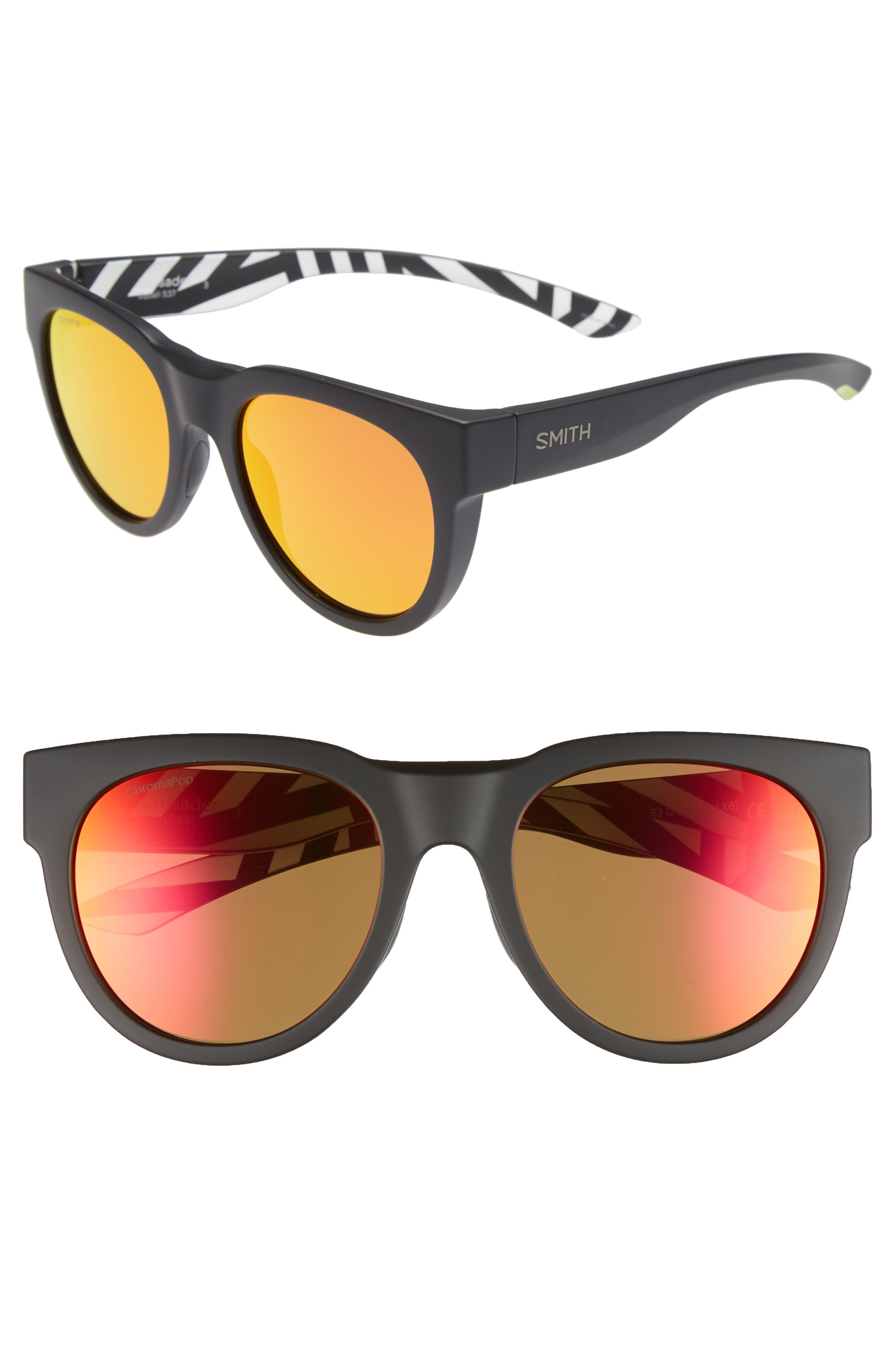 Crusader 53mm ChromaPop<sup>™</sup> Round Sunglasses,                             Main thumbnail 1, color,                             SQUALL/ SUN RED MIRROR