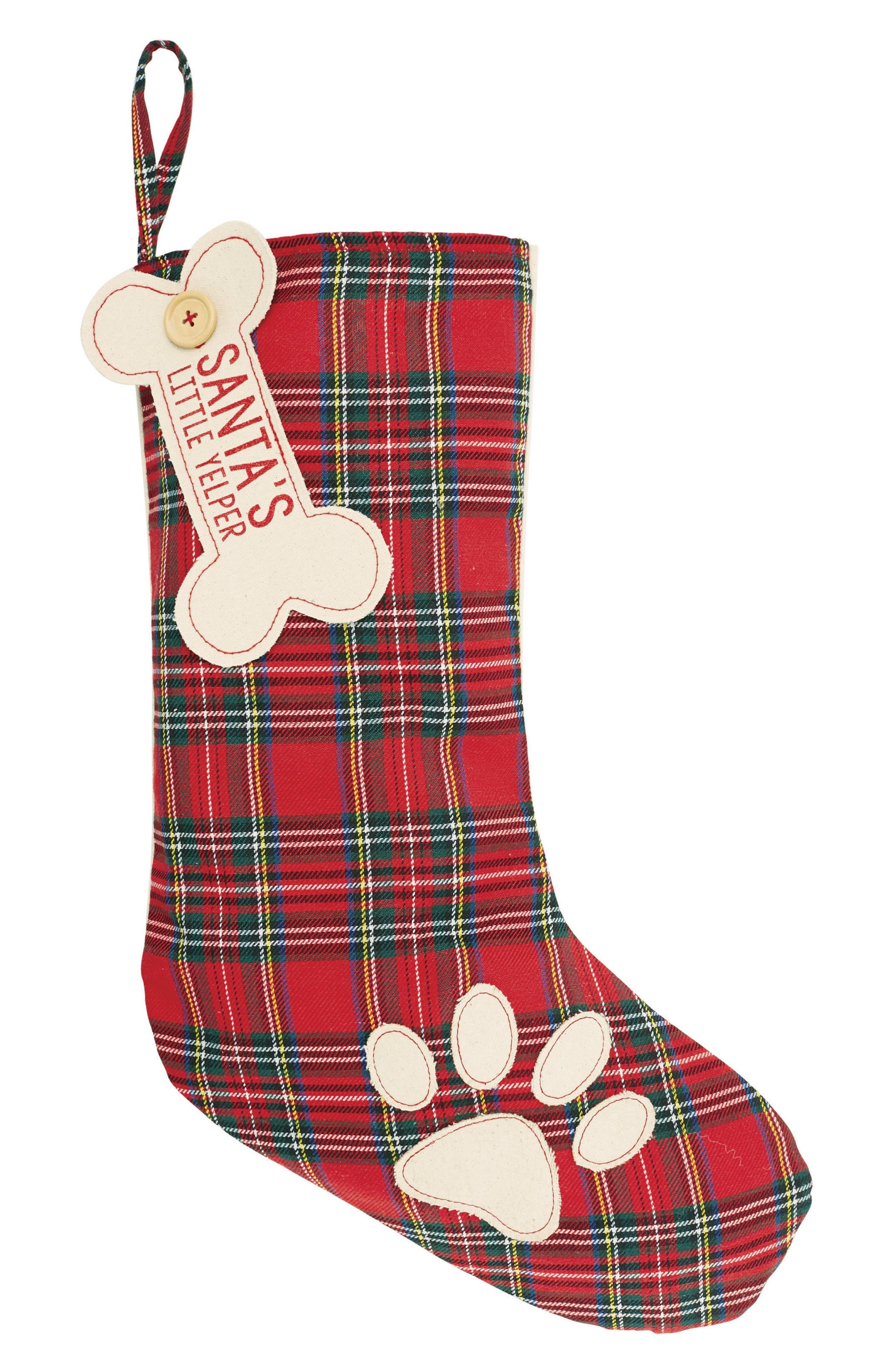 Santa's Little Yelper Tartan Dog Christmas Stocking,                             Main thumbnail 1, color,