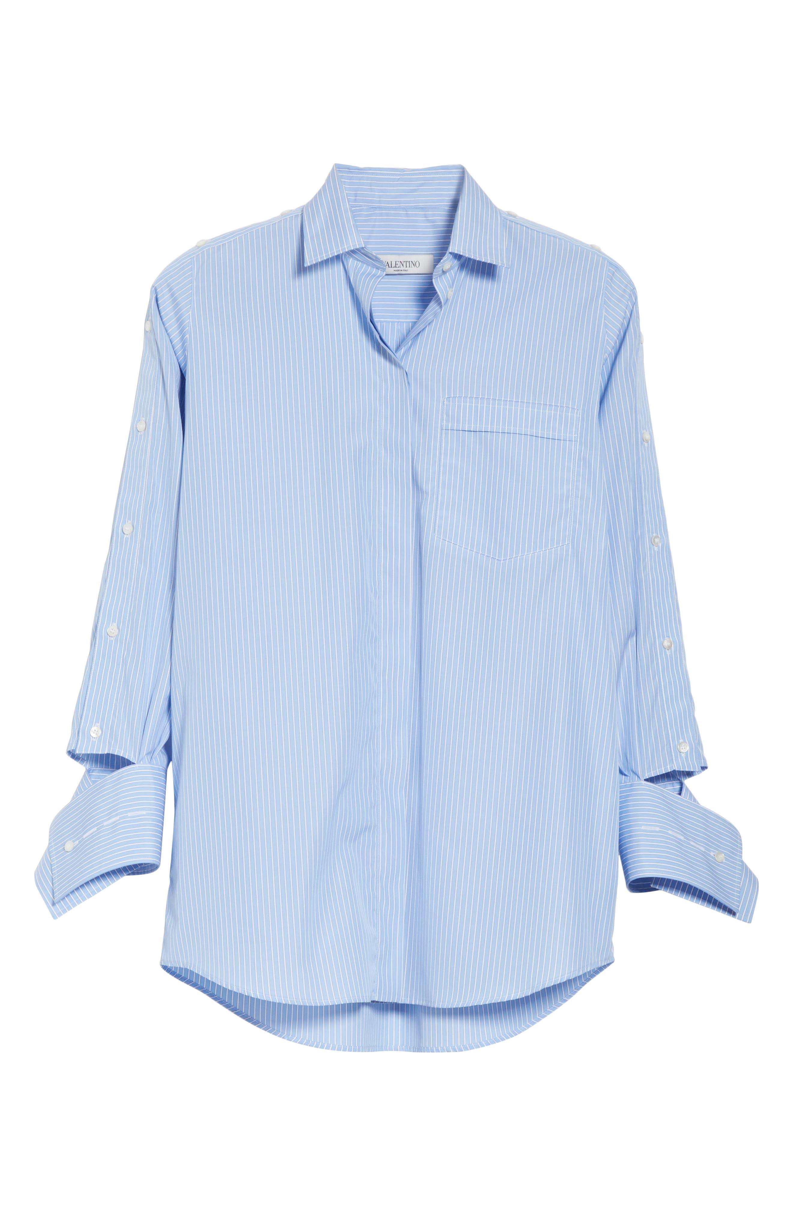 Cutaway Sleeve Cotton Poplin Shirt,                             Alternate thumbnail 6, color,                             461