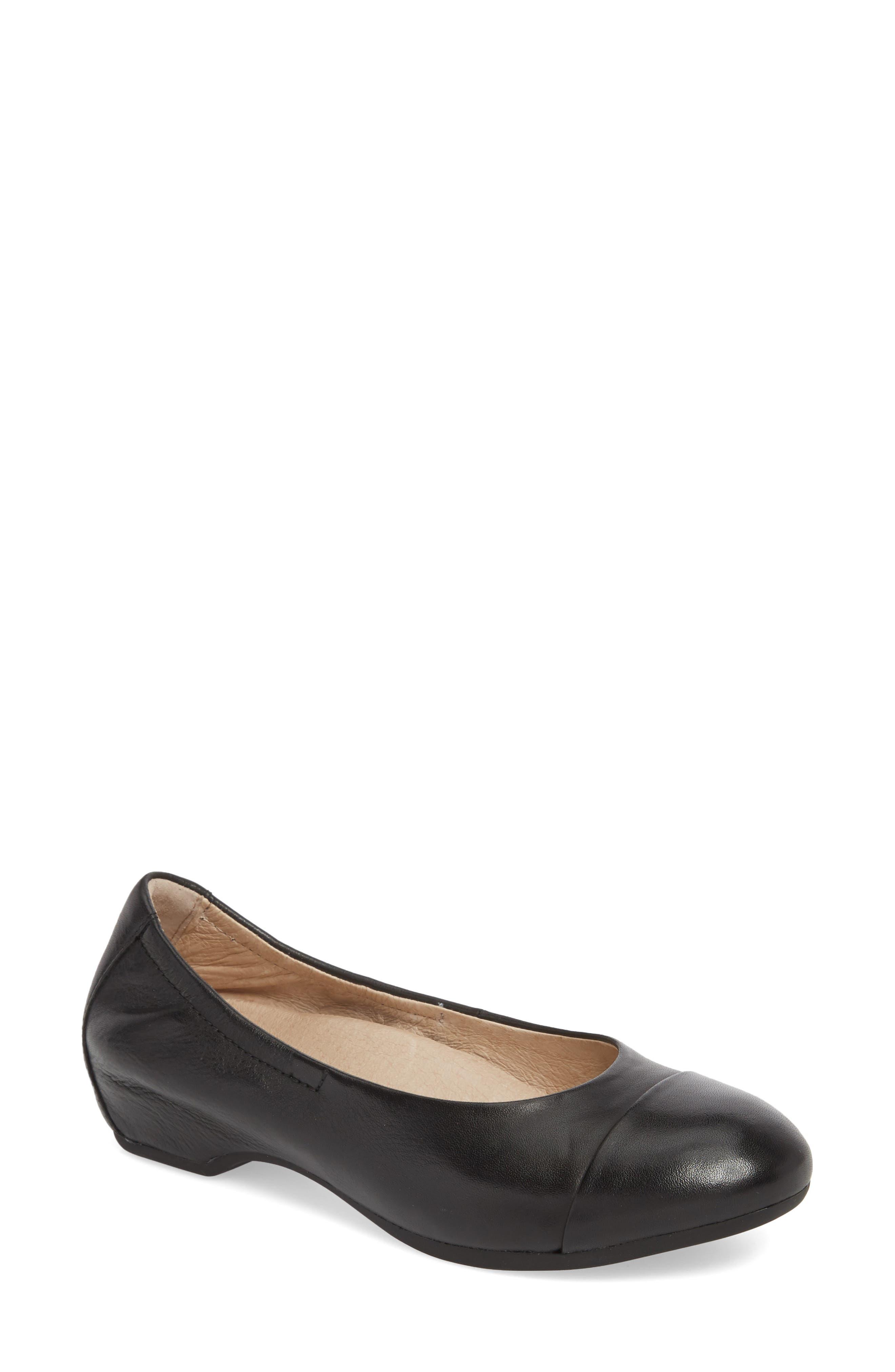 Lisanne Cap Toe Ballet Flat,                         Main,                         color, BLACK MILLED LEATHER