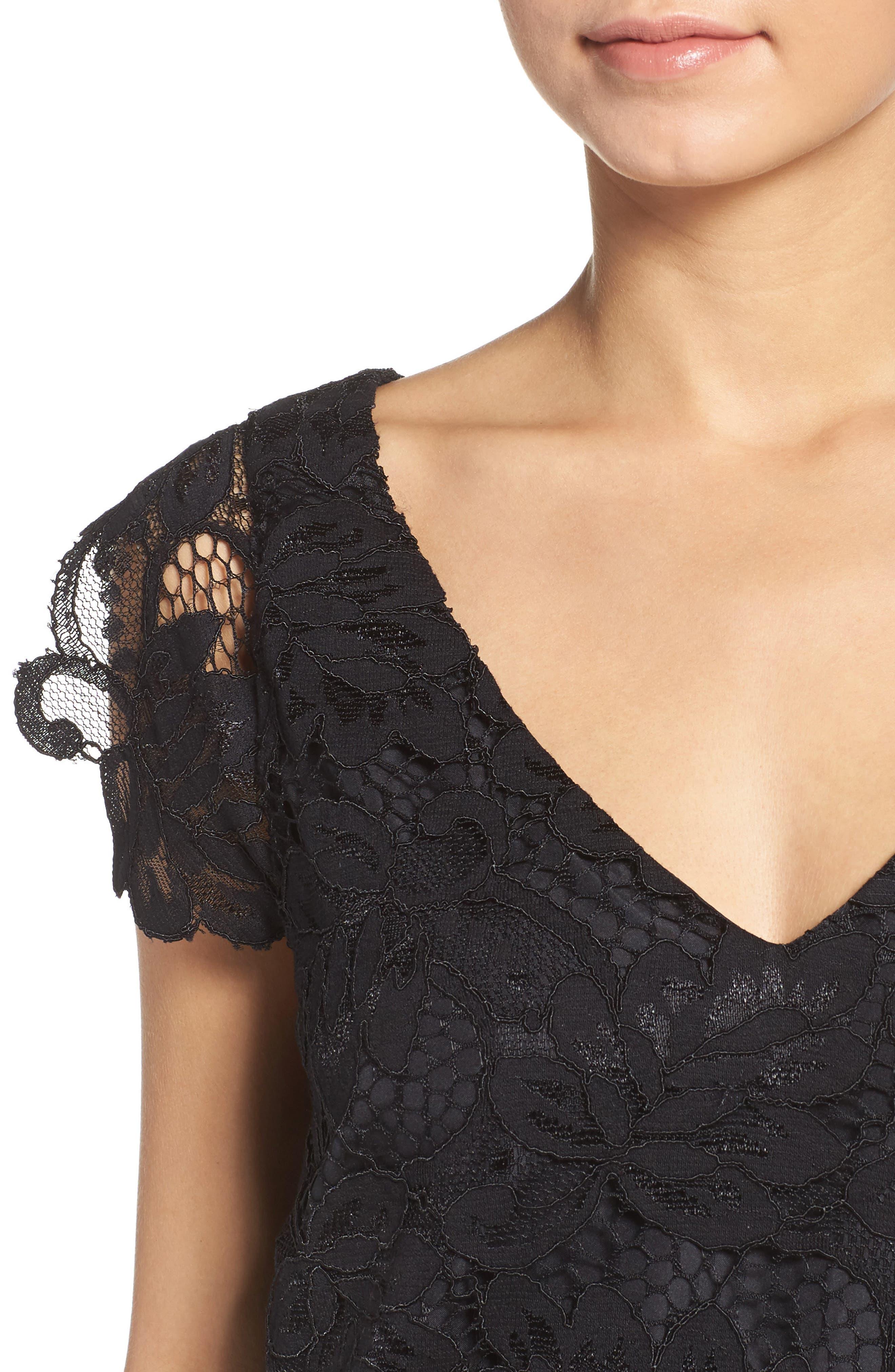 'Jacqueline' Lace Shift Dress,                             Alternate thumbnail 4, color,                             BLACK