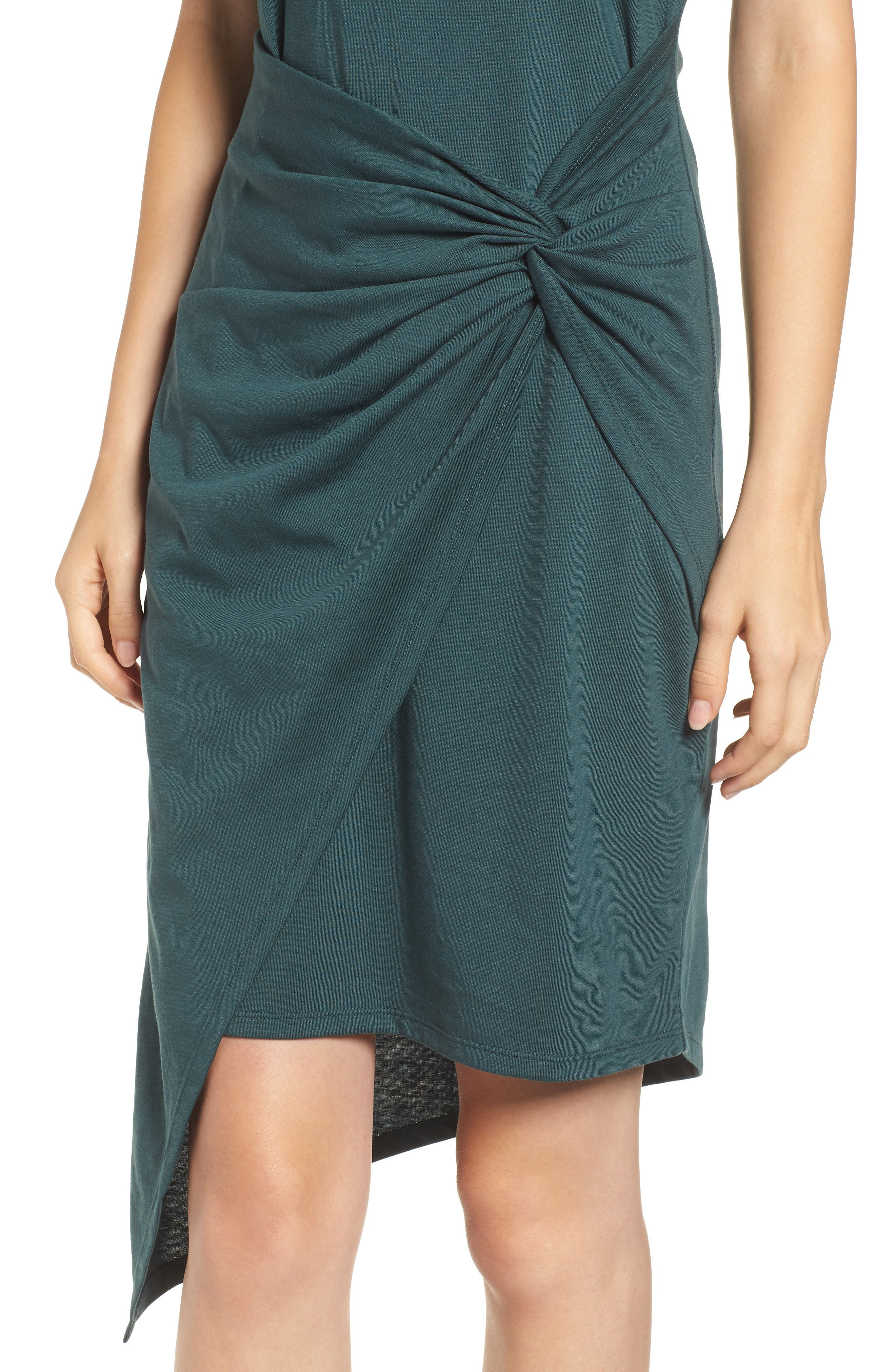 Twist Front Dress,                             Alternate thumbnail 4, color,                             GREEN GABLES