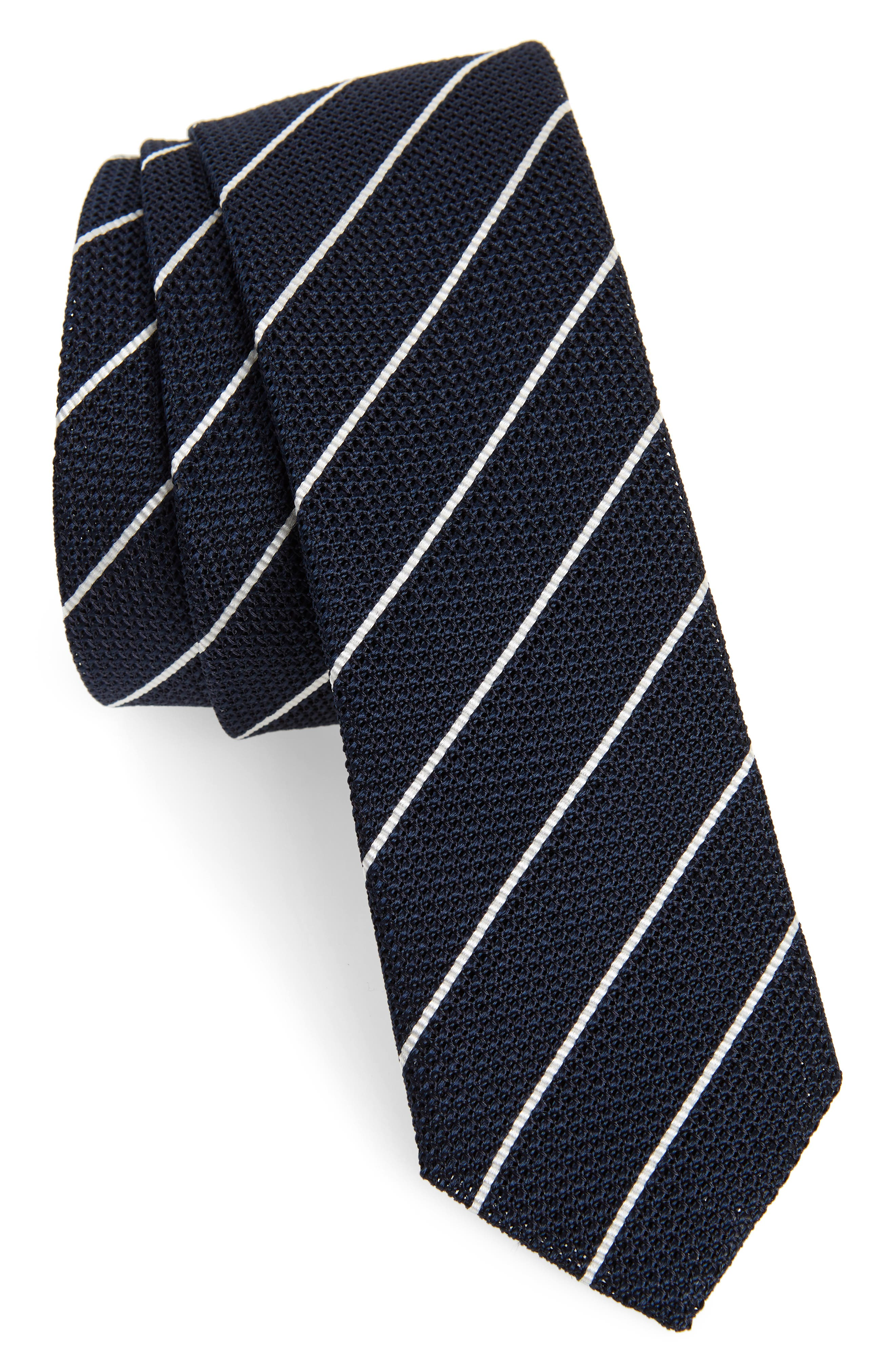 Stripe Skinny Silk Tie,                         Main,                         color, NAVY/ WHITE