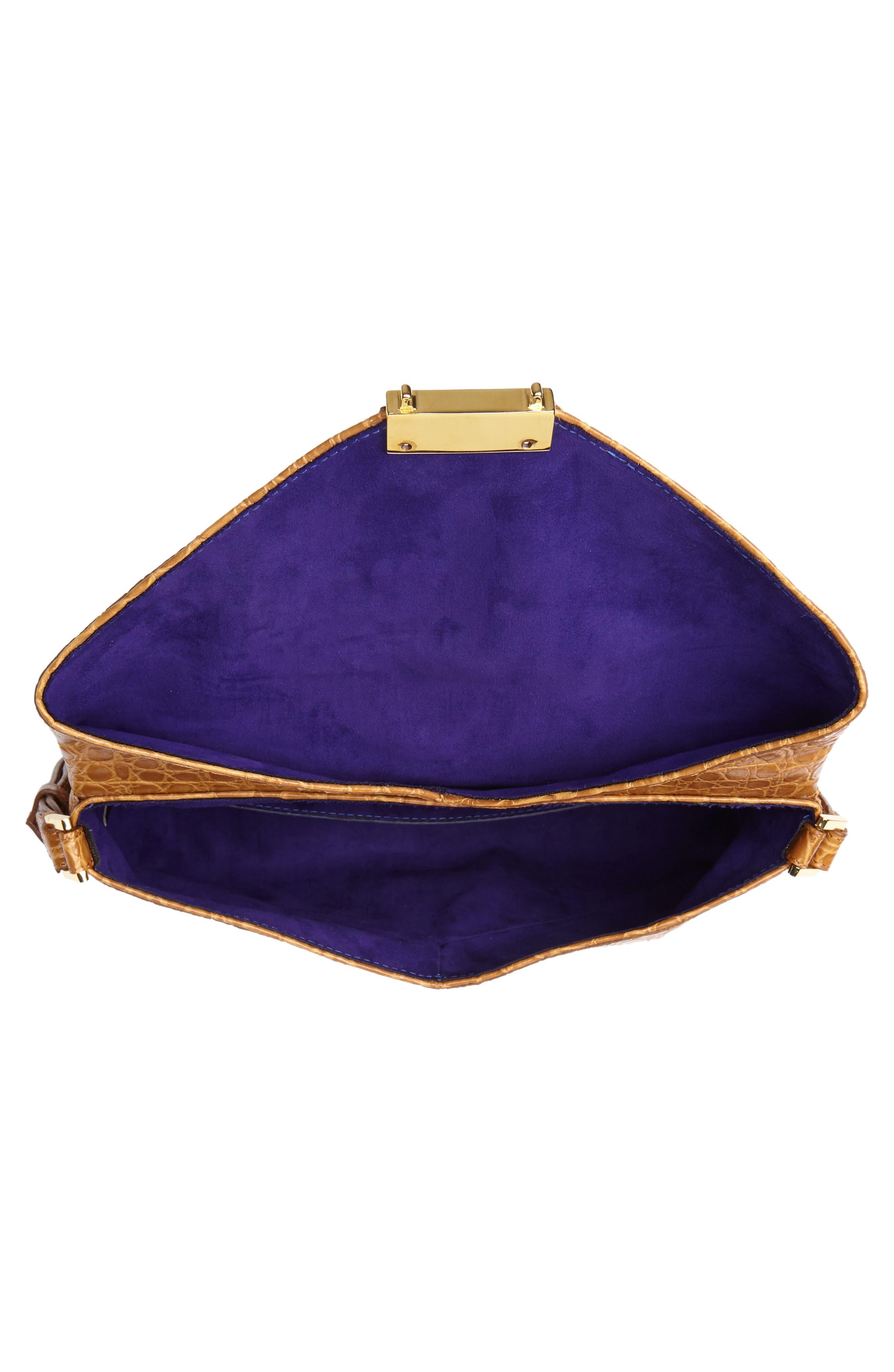 Croc Embossed Leather Shoulder Bag,                             Alternate thumbnail 4, color,                             GOLD