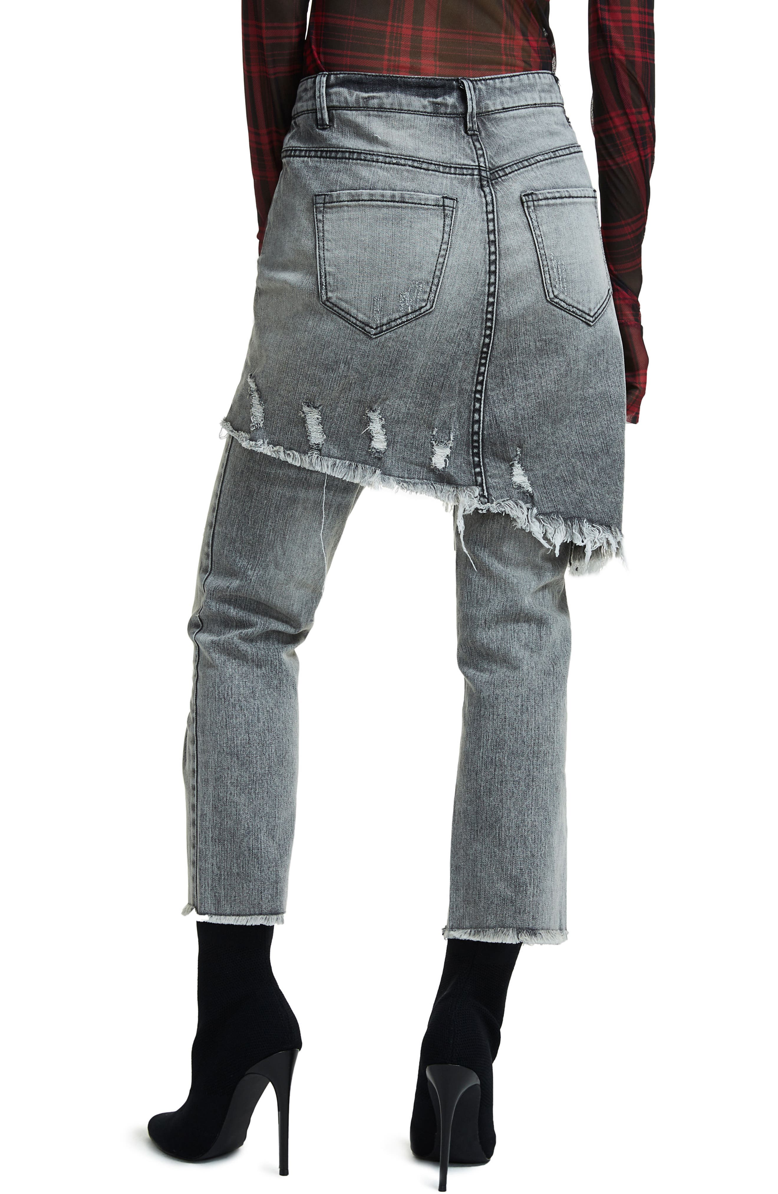 Maxon Ripped Skirted Crop Jeans,                             Alternate thumbnail 2, color,                             001