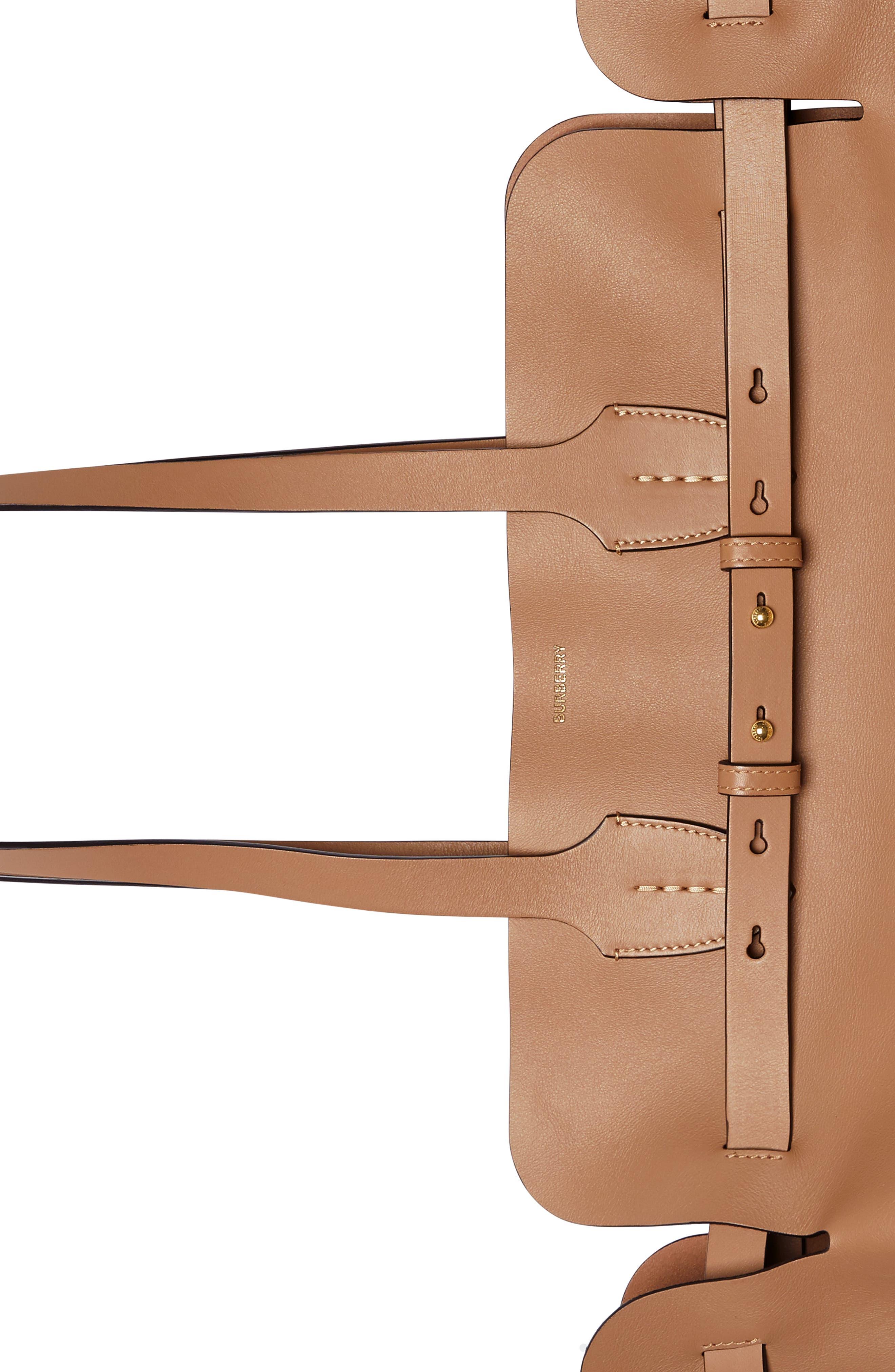 BURBERRY,                             Medium Belt Leather Tote,                             Alternate thumbnail 5, color,                             LIGHT CAMEL