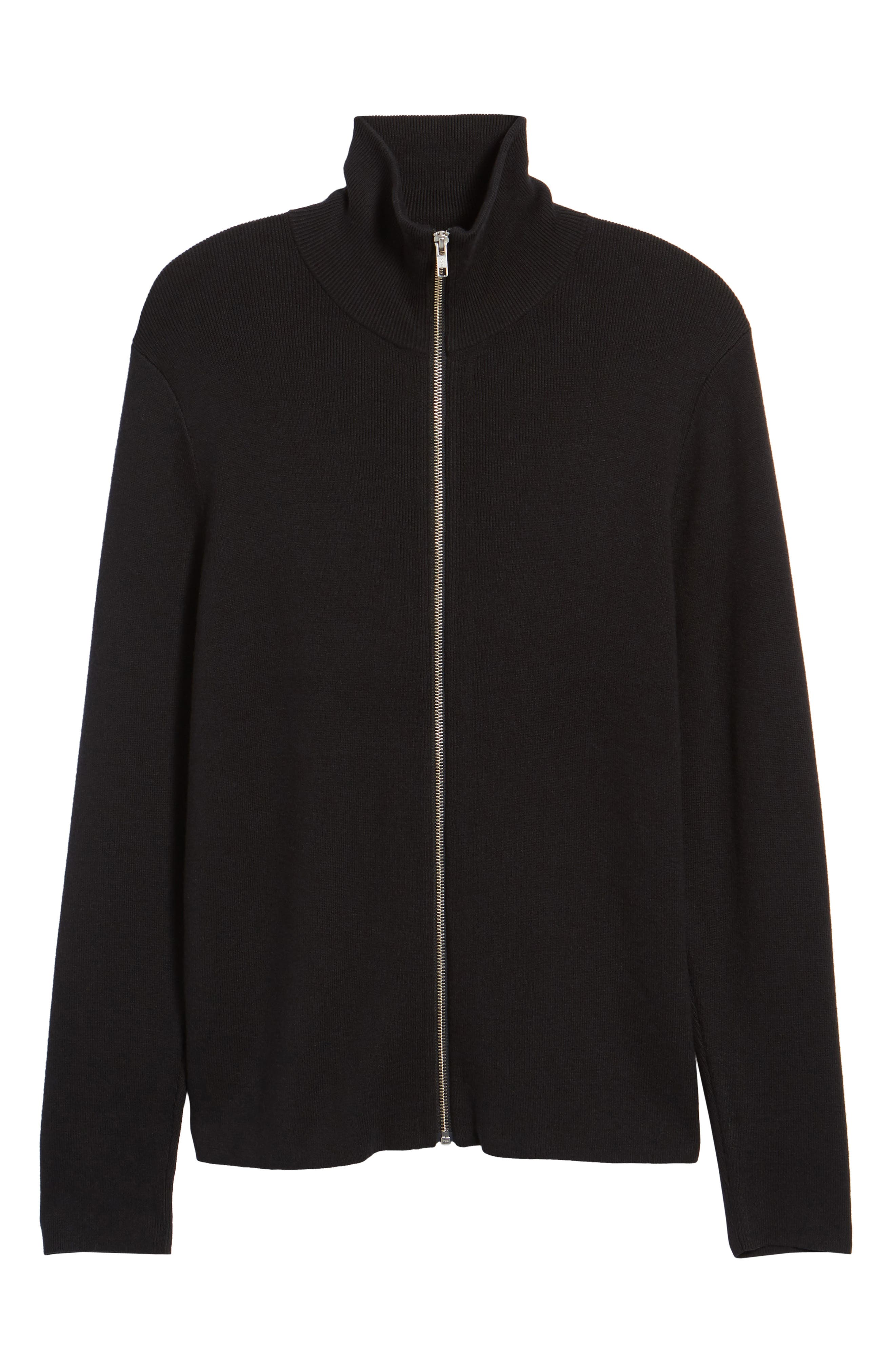 Zip Front Sweater Jacket,                             Alternate thumbnail 6, color,                             BLACK