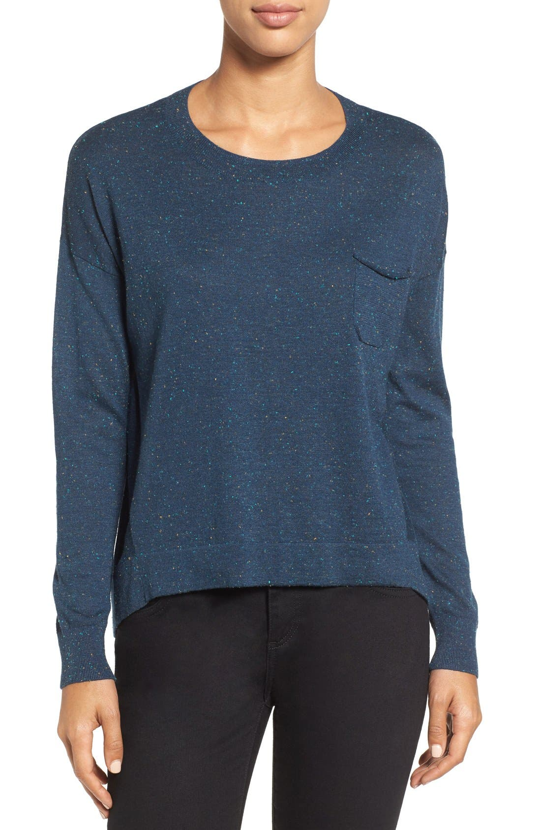 Pleat Back High/Low Crewneck Sweater,                             Main thumbnail 4, color,