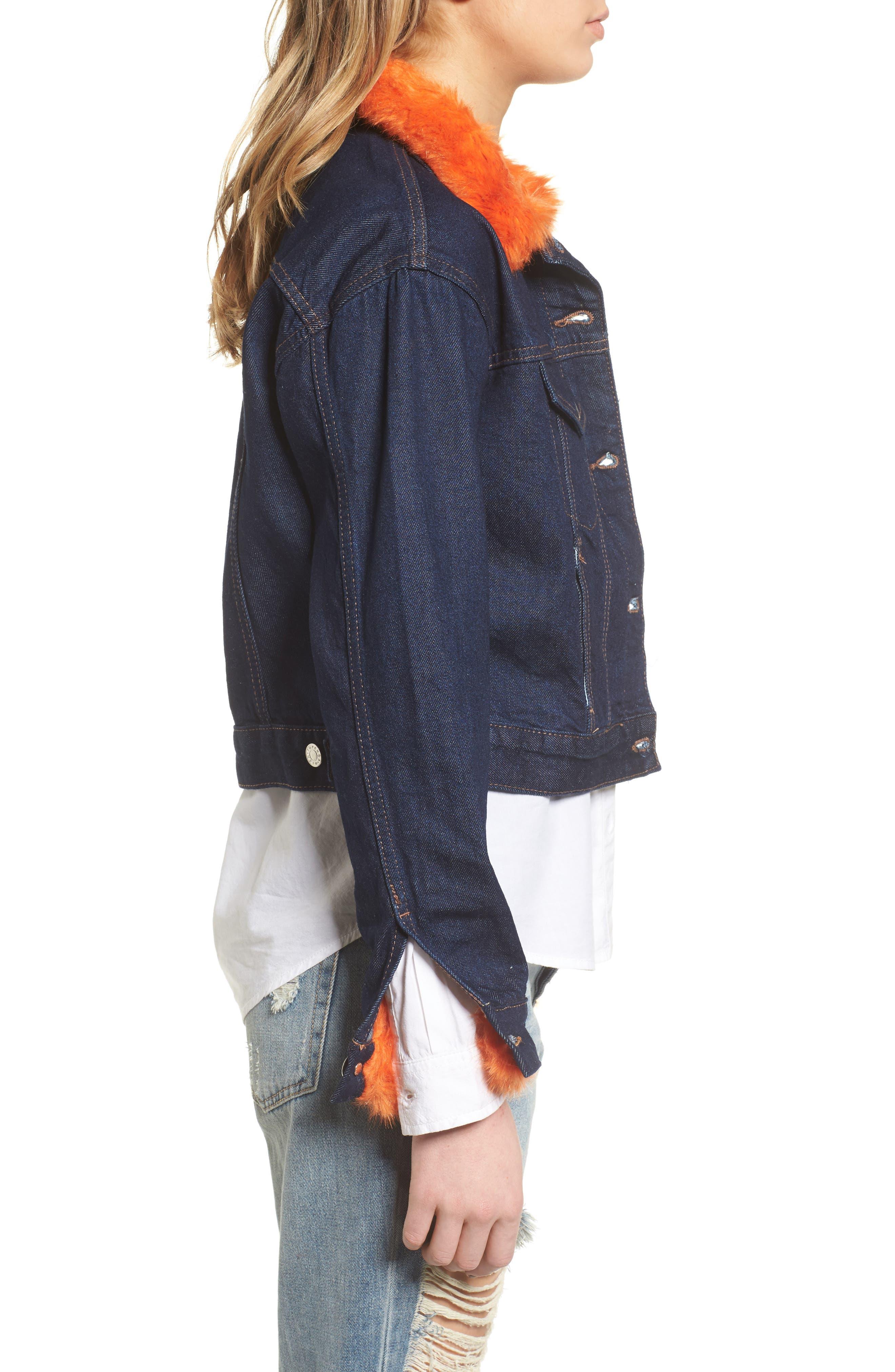 Tilda Faux Fur Trim Denim Jacket,                             Alternate thumbnail 3, color,                             402