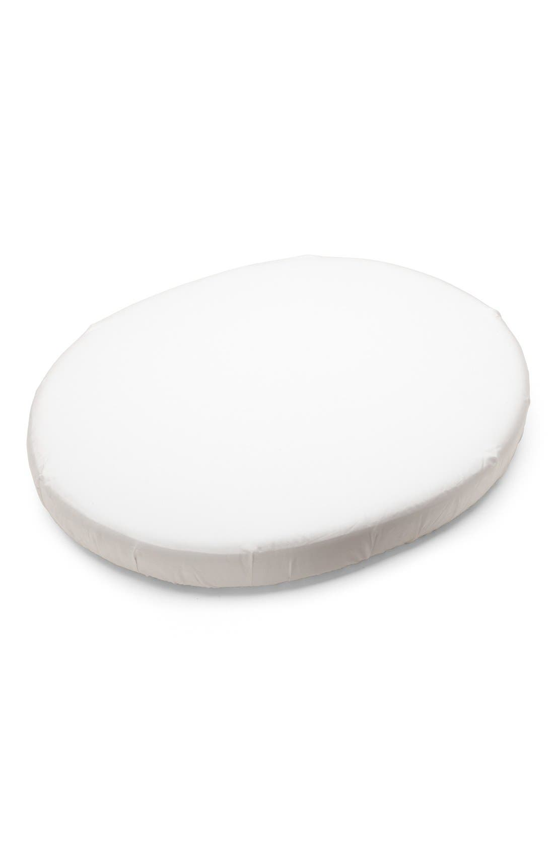 Sleepi Mini Fitted Cotton Sheet,                             Main thumbnail 1, color,                             WHITE