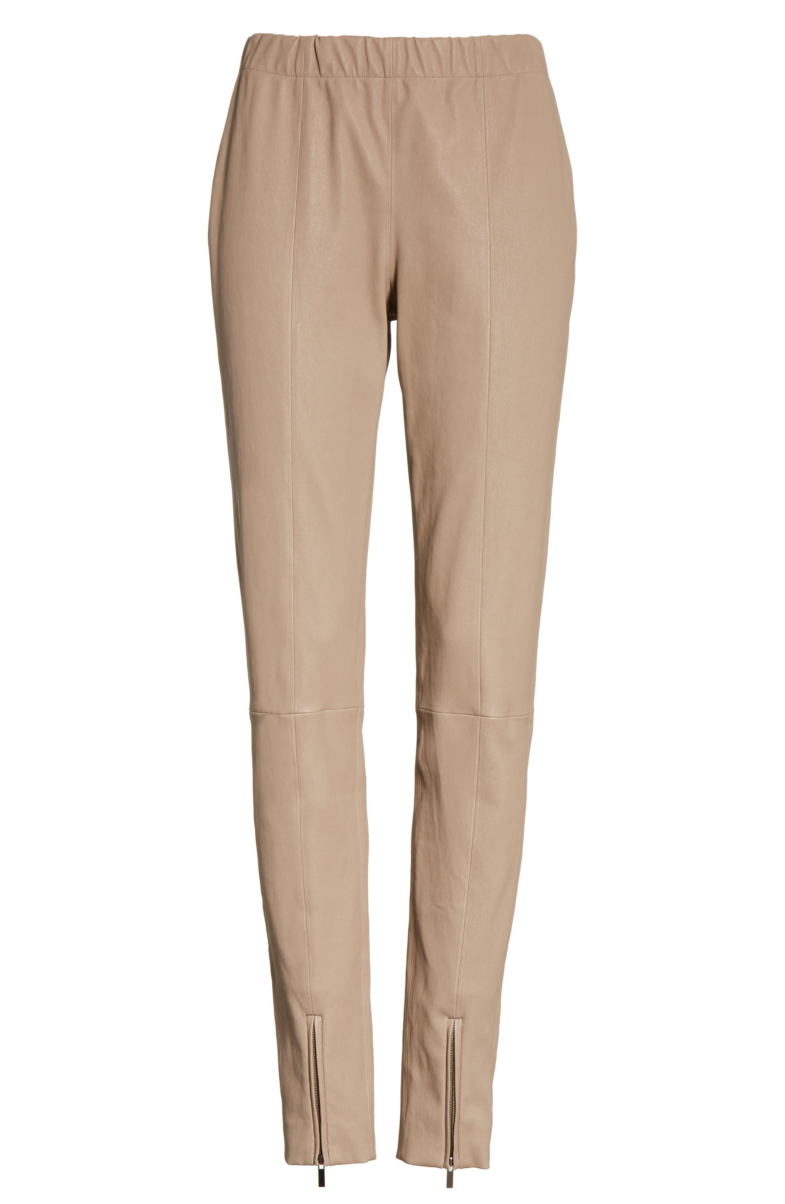 Stretch Leather Pants,                             Alternate thumbnail 6, color,                             205