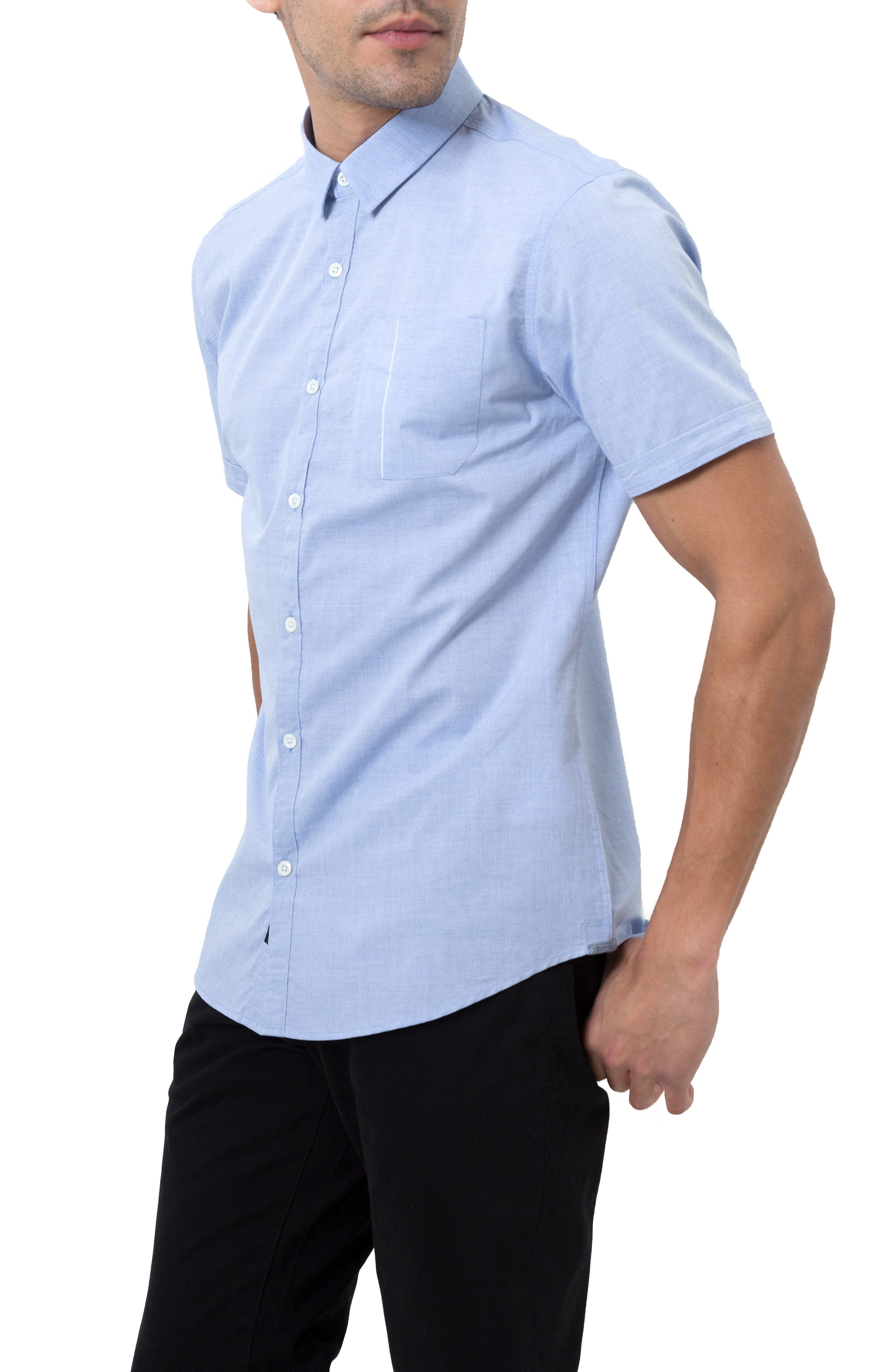 Smile Away Trim Fit Sport Shirt,                             Alternate thumbnail 4, color,                             LIGHT BLUE