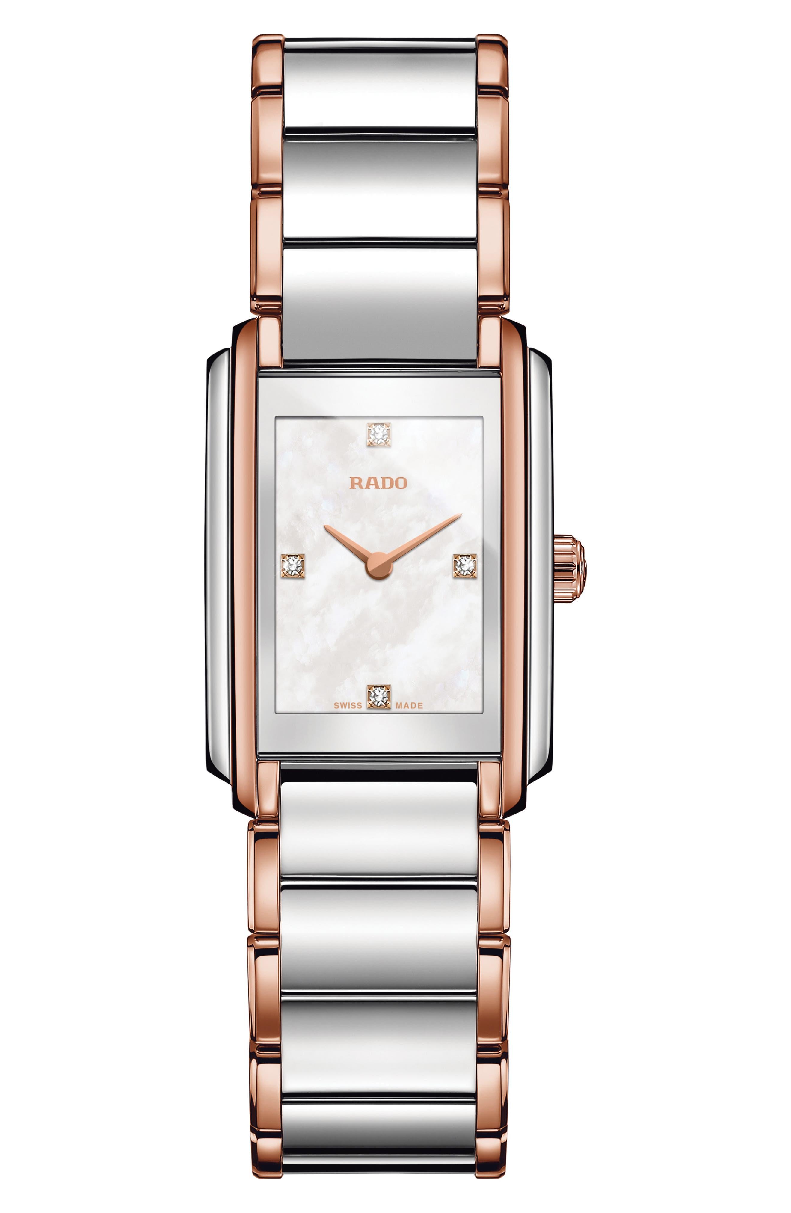 Integral Diamonds Tank Bracelet Watch, 22mm x 33mm,                             Main thumbnail 1, color,                             ROSE GOLD/ MOP/ SILVER