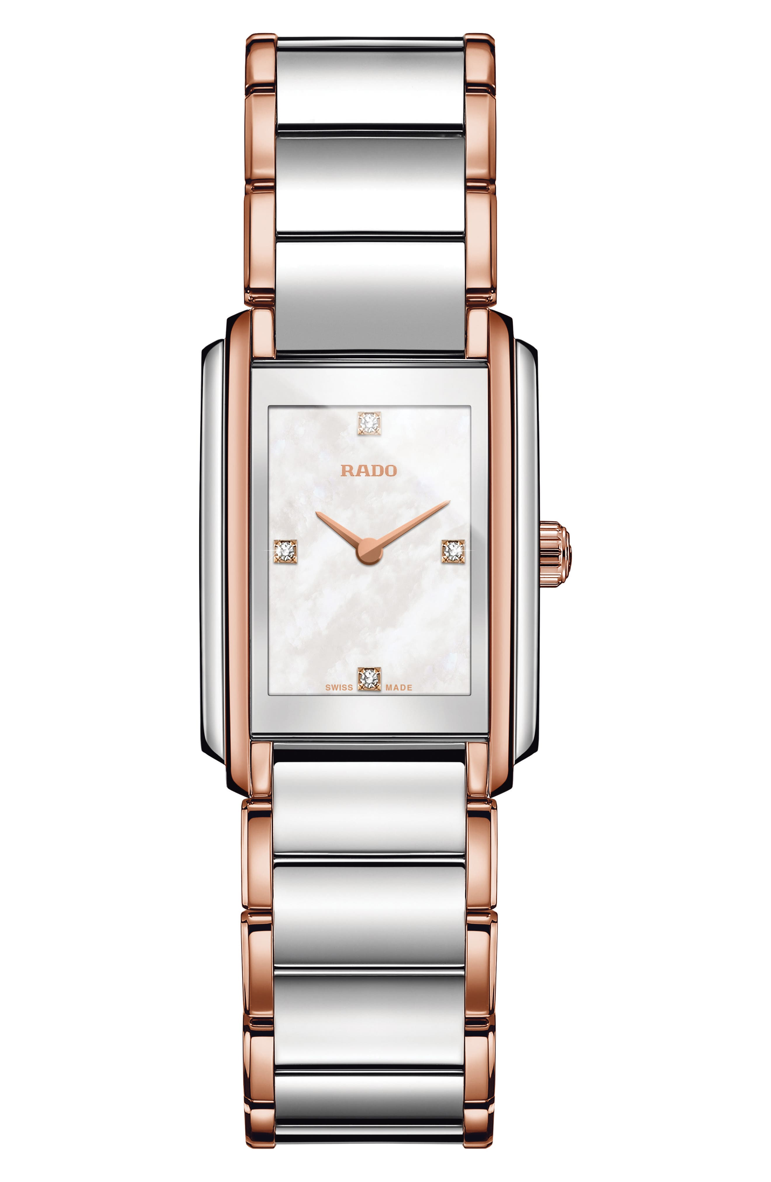 Integral Diamonds Tank Bracelet Watch, 22mm x 33mm,                         Main,                         color, ROSE GOLD/ MOP/ SILVER